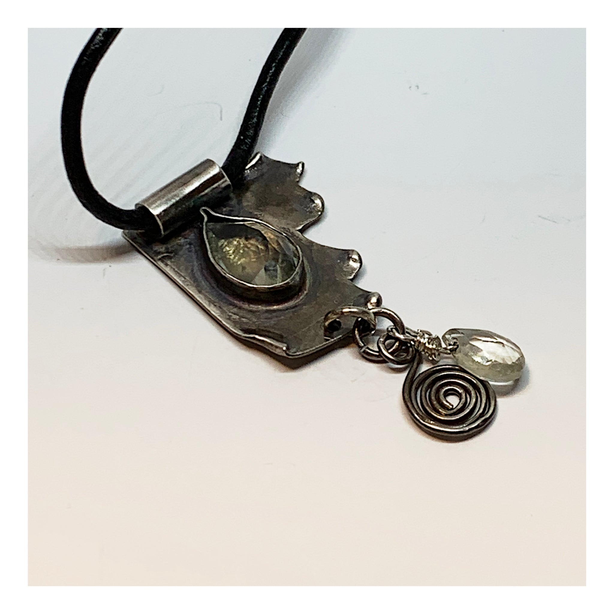 Sterling Silver Primitive  Bohemian Necklace With Faceted Gemstone in Pale Green - Black Leather Necklace