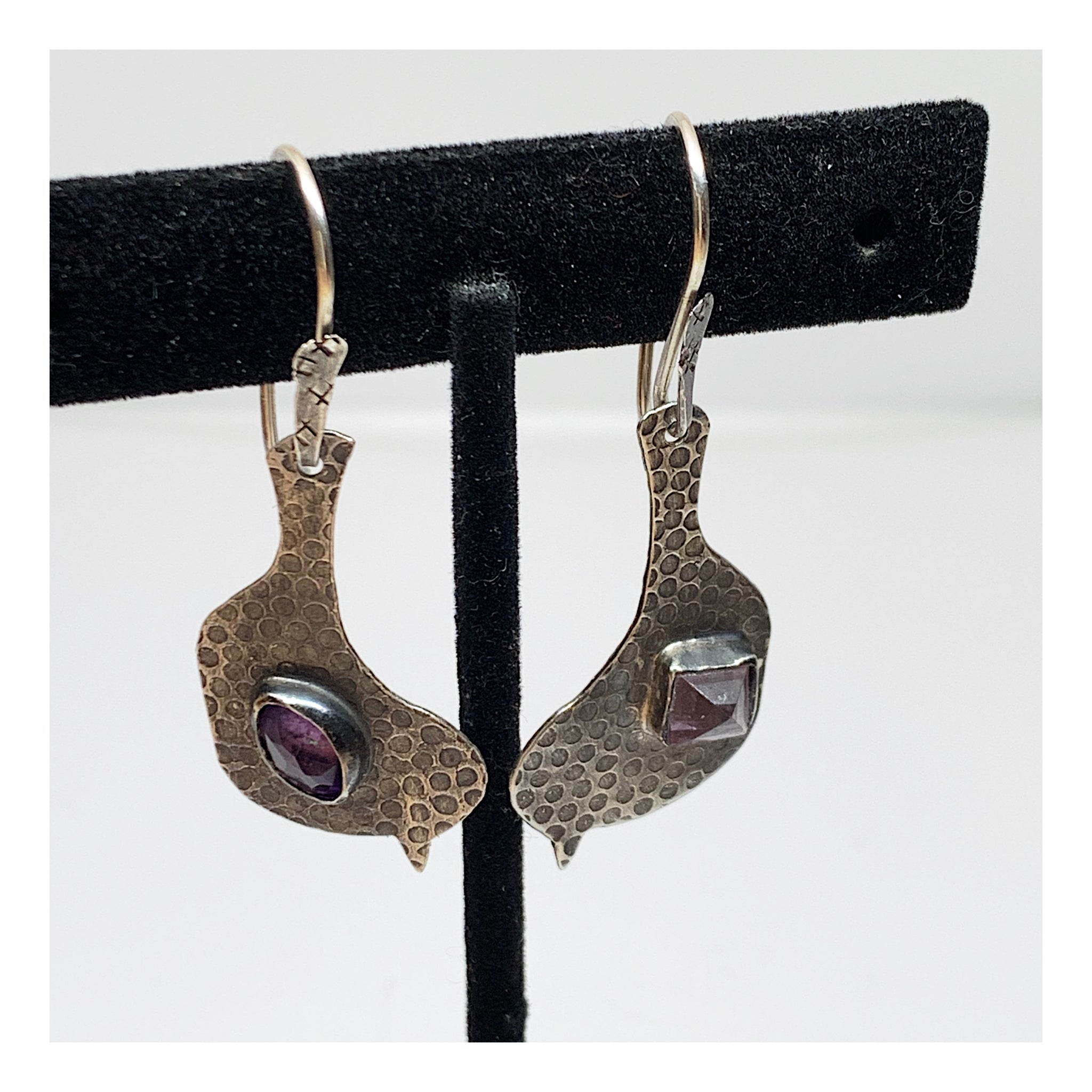 Sterling Silver Bird Lover Earrings With Purple Gemstones - Nature Lover Jewelry
