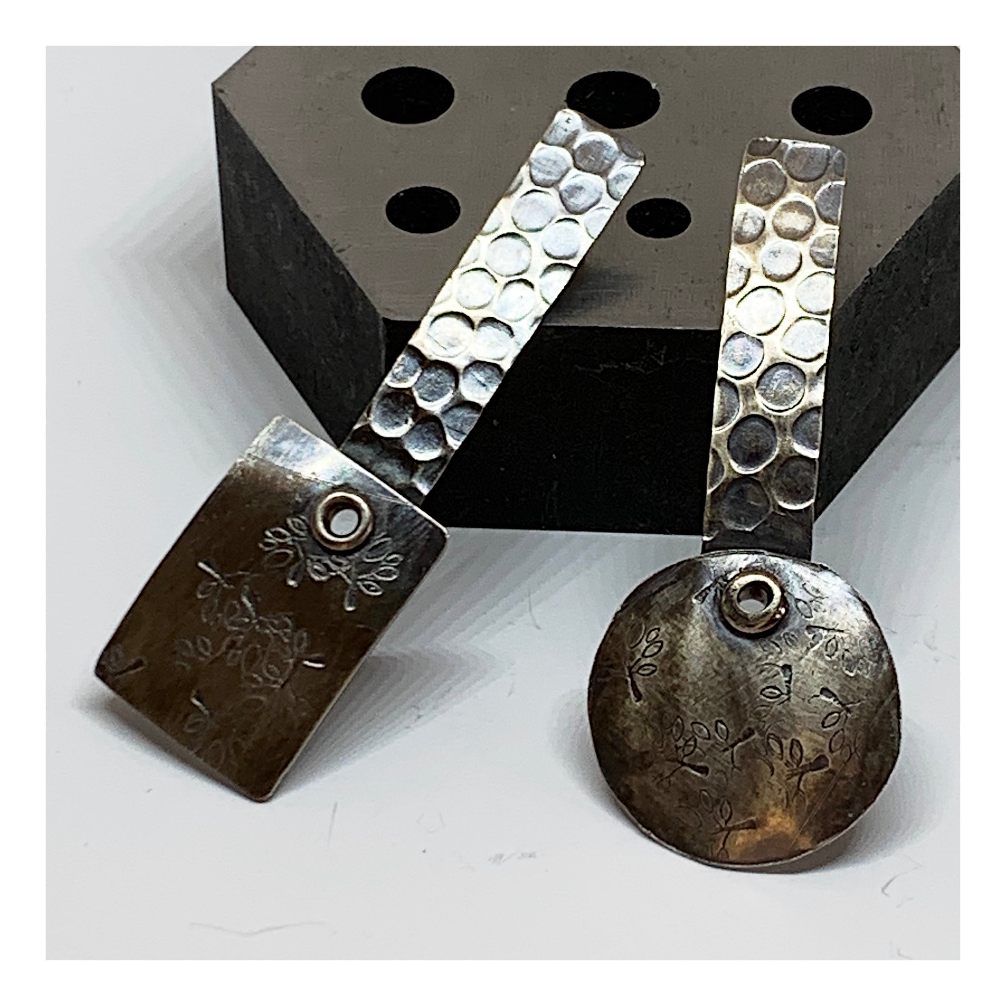 Industrial Urban Chic Earrings - Sterling Silver Earrings - Unique OOAK Earrings
