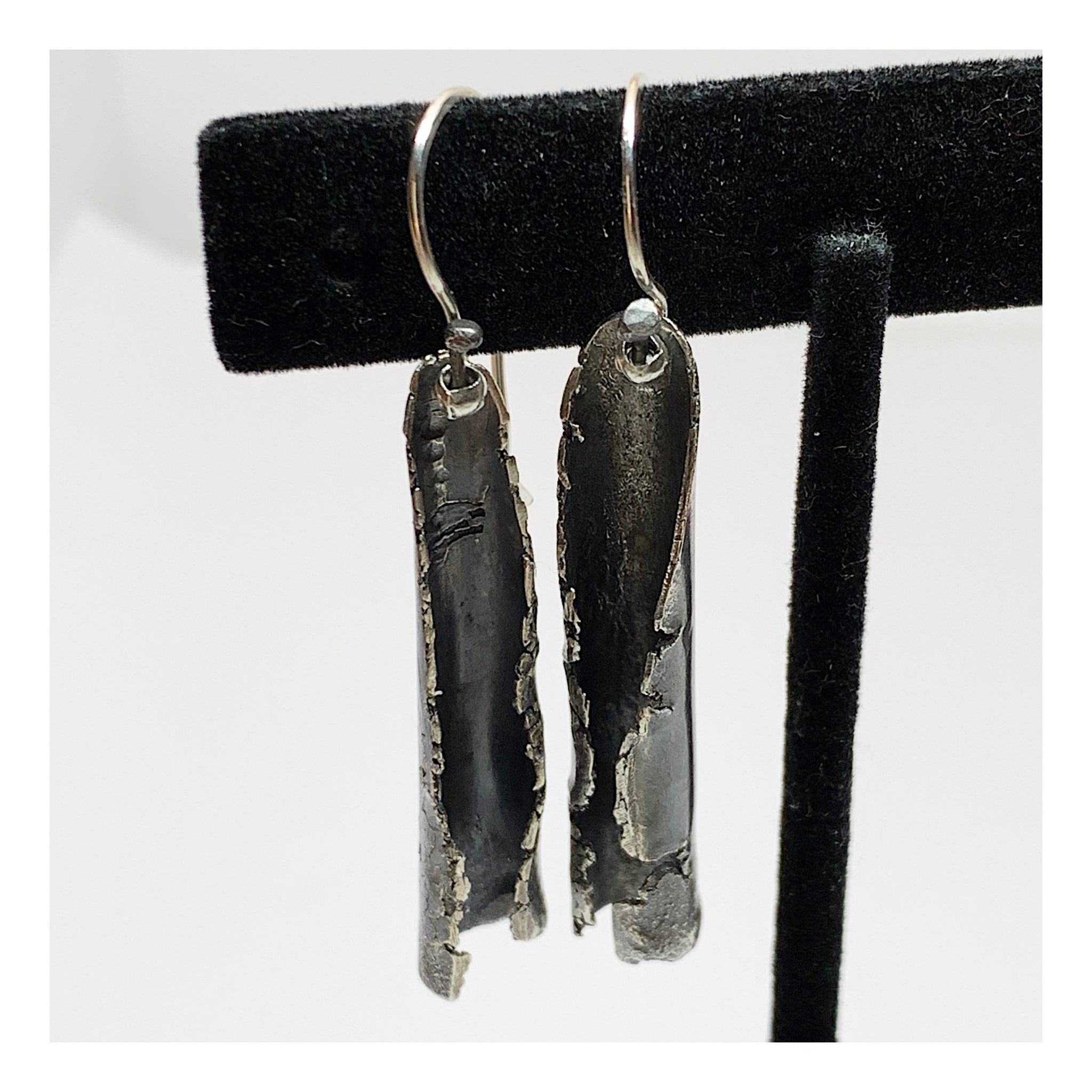 Unique and Unusual Organic Silver Earrings - Handmade OOAK Jewelry