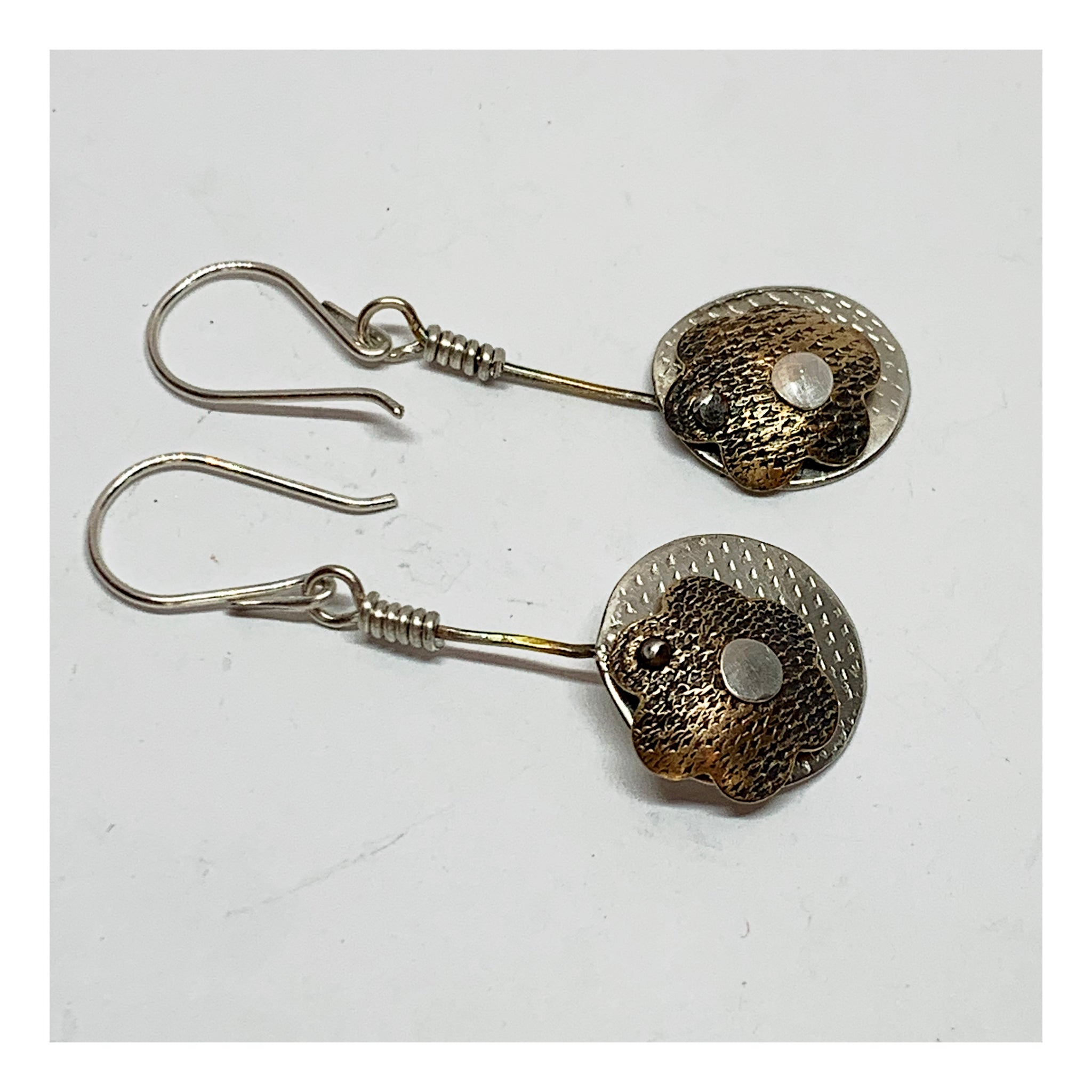 Mixed Metals Floral Earrings - Drop and Dangle Earrings