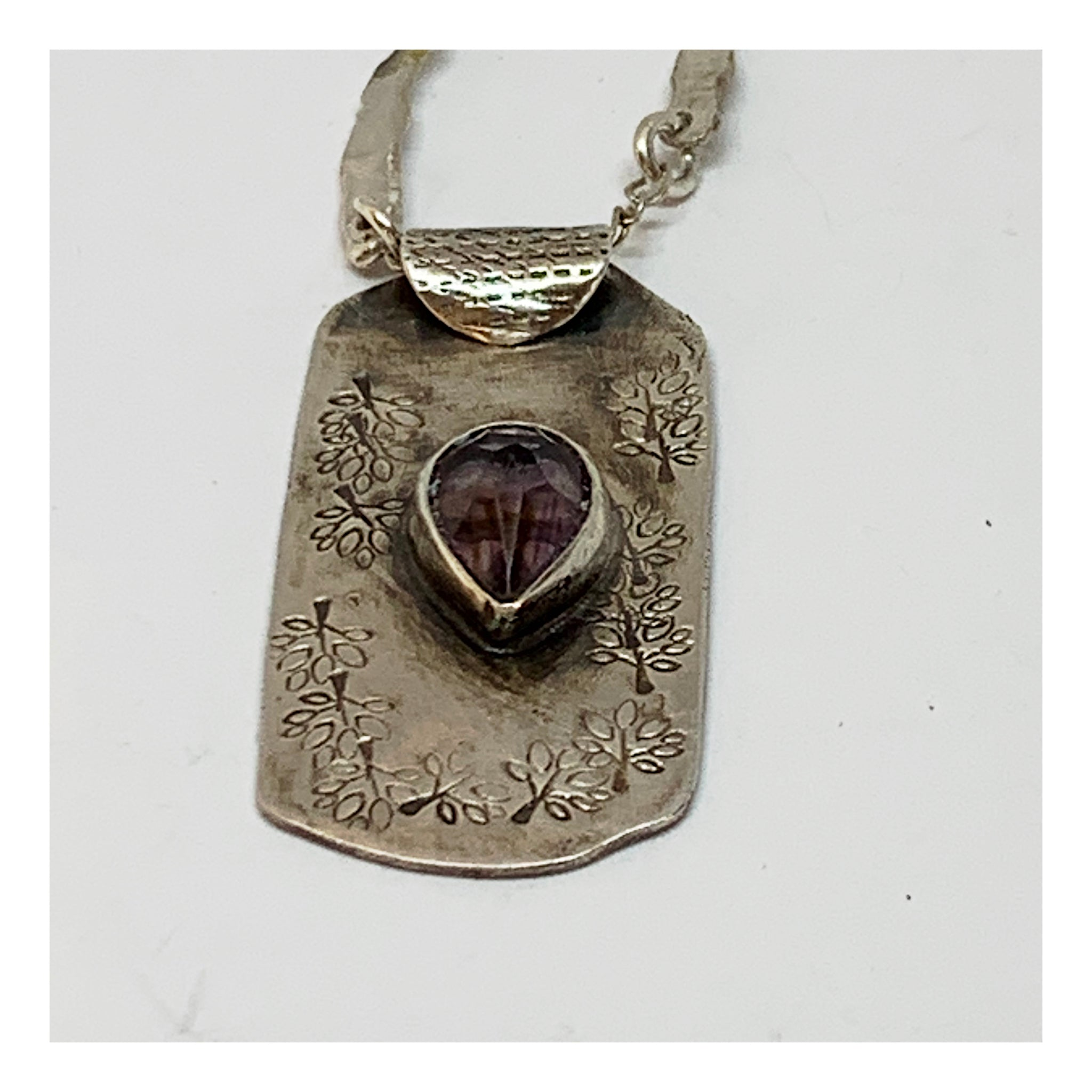 Vintage Look Sterling Necklace With Amethyst Stone - Recycled Jewelry Pieces