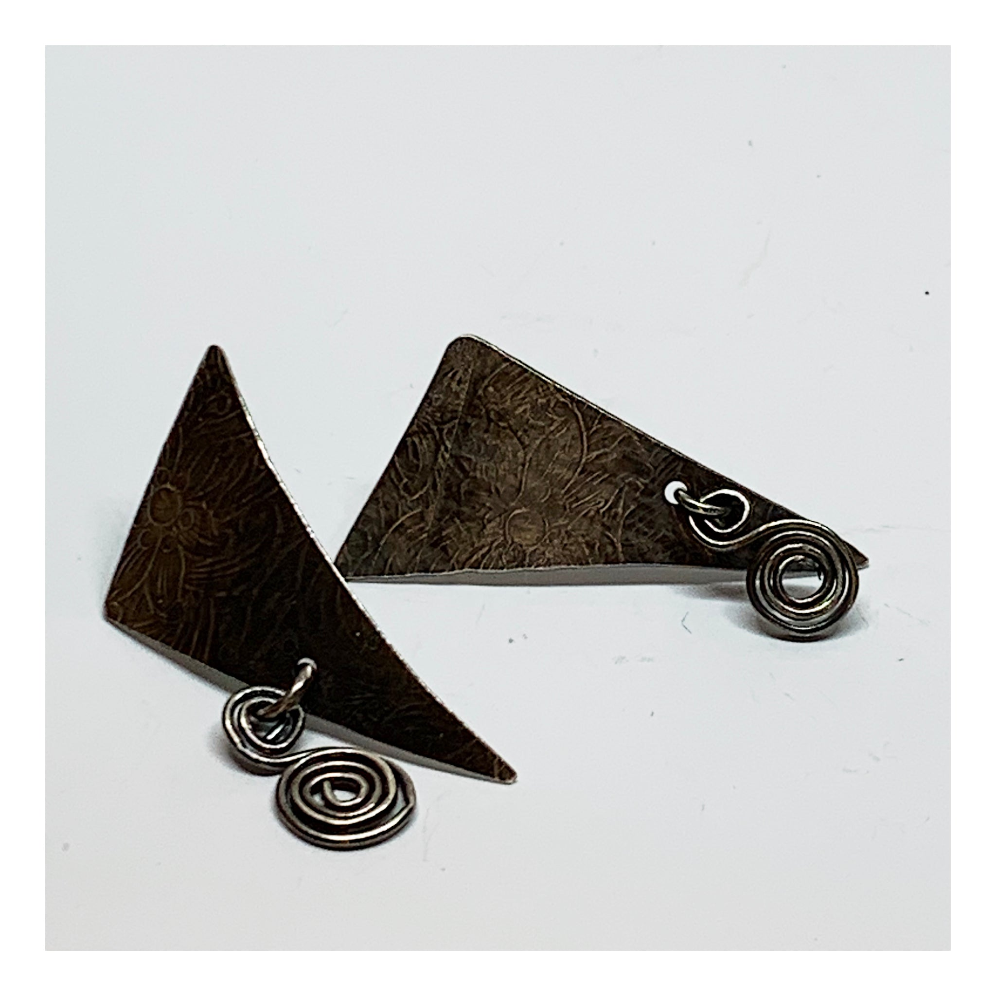 Triangular Bohemian Sterling Silver Earrings - Unique One of a Kind Jewelry