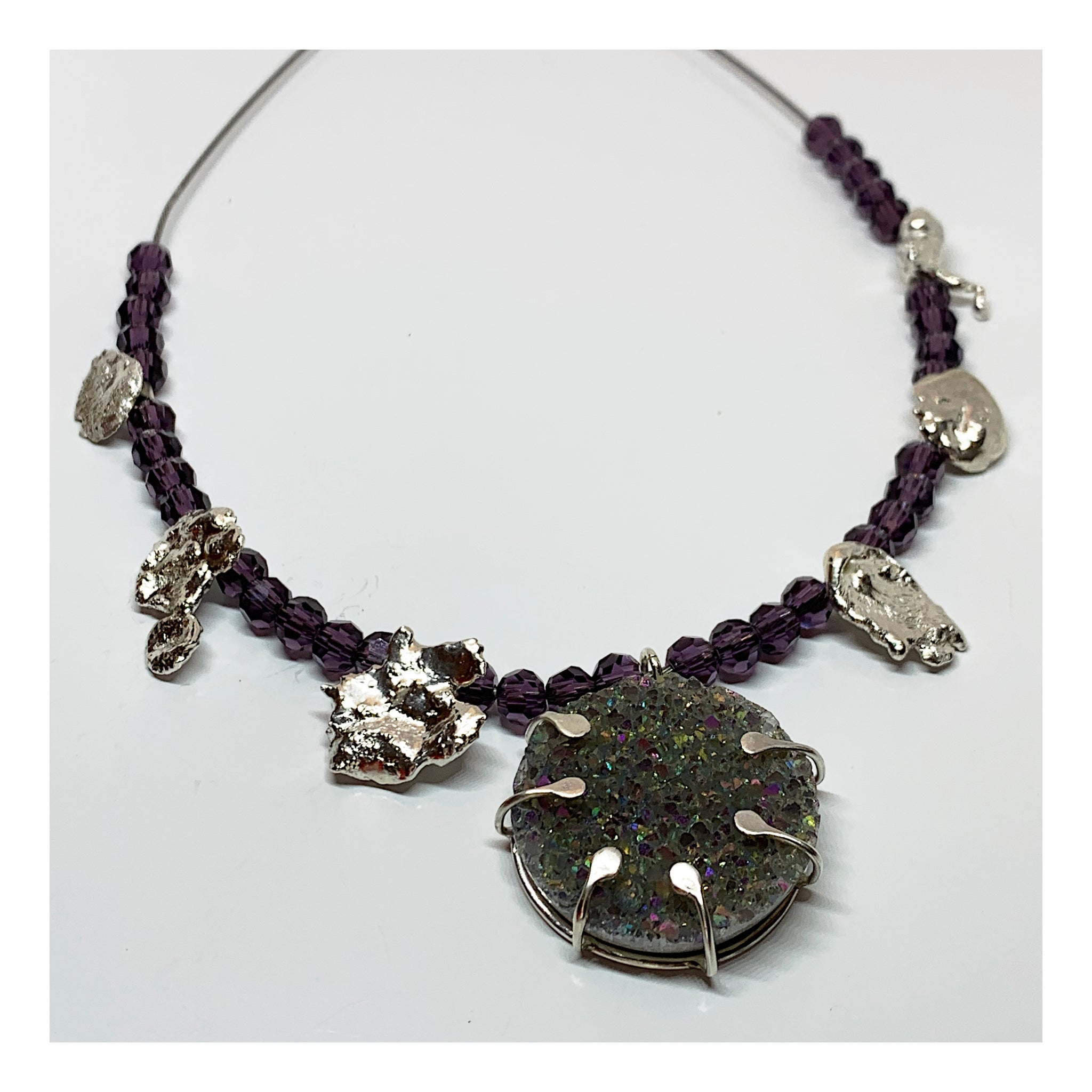 Purple Druzy Stone and Sterling Silver Necklace - Crystal Bead Necklace - One of a Kind Jewelry