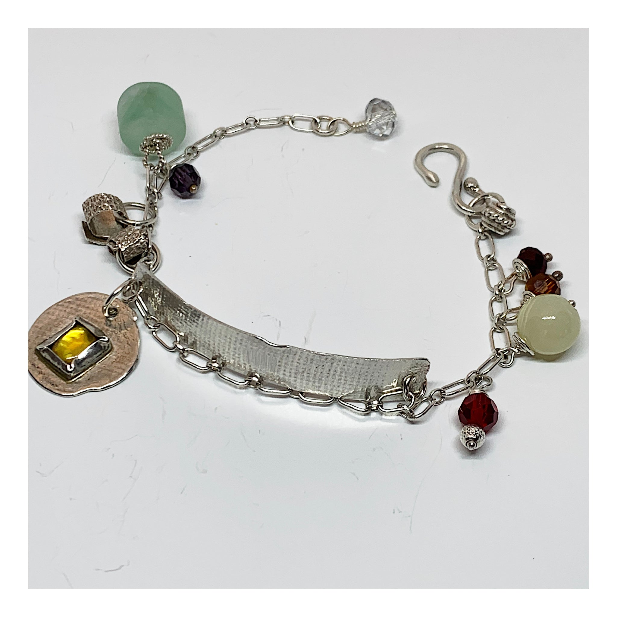 Sterling Silver Chain and Semi Precious Gemstone Bracelet - Unusual One of a Kind Jewelry