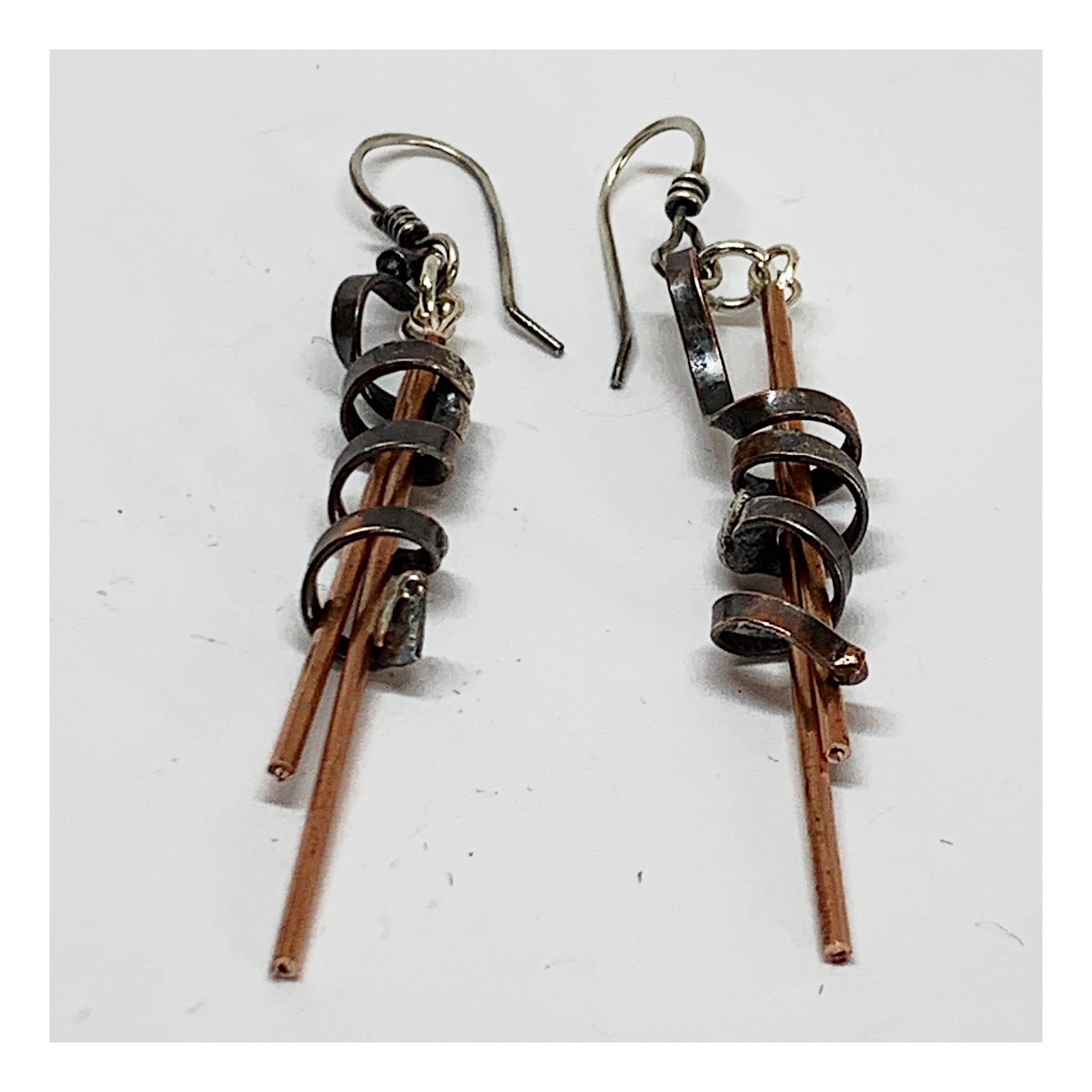 Extra Long Mixed Metal Earrings - Unusual Handmade Jewelry