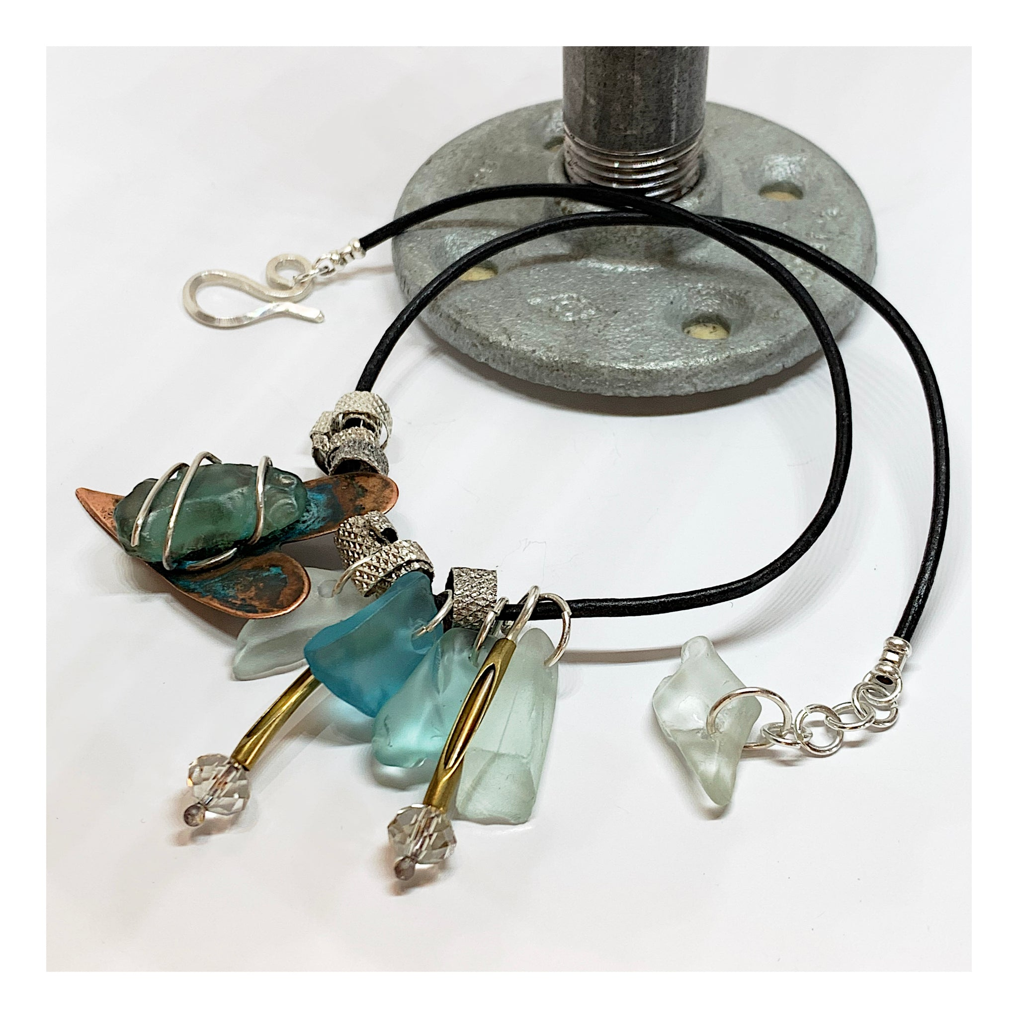 Bohemian Beach Glass Necklace - Unique Mixed Metals Jewelry