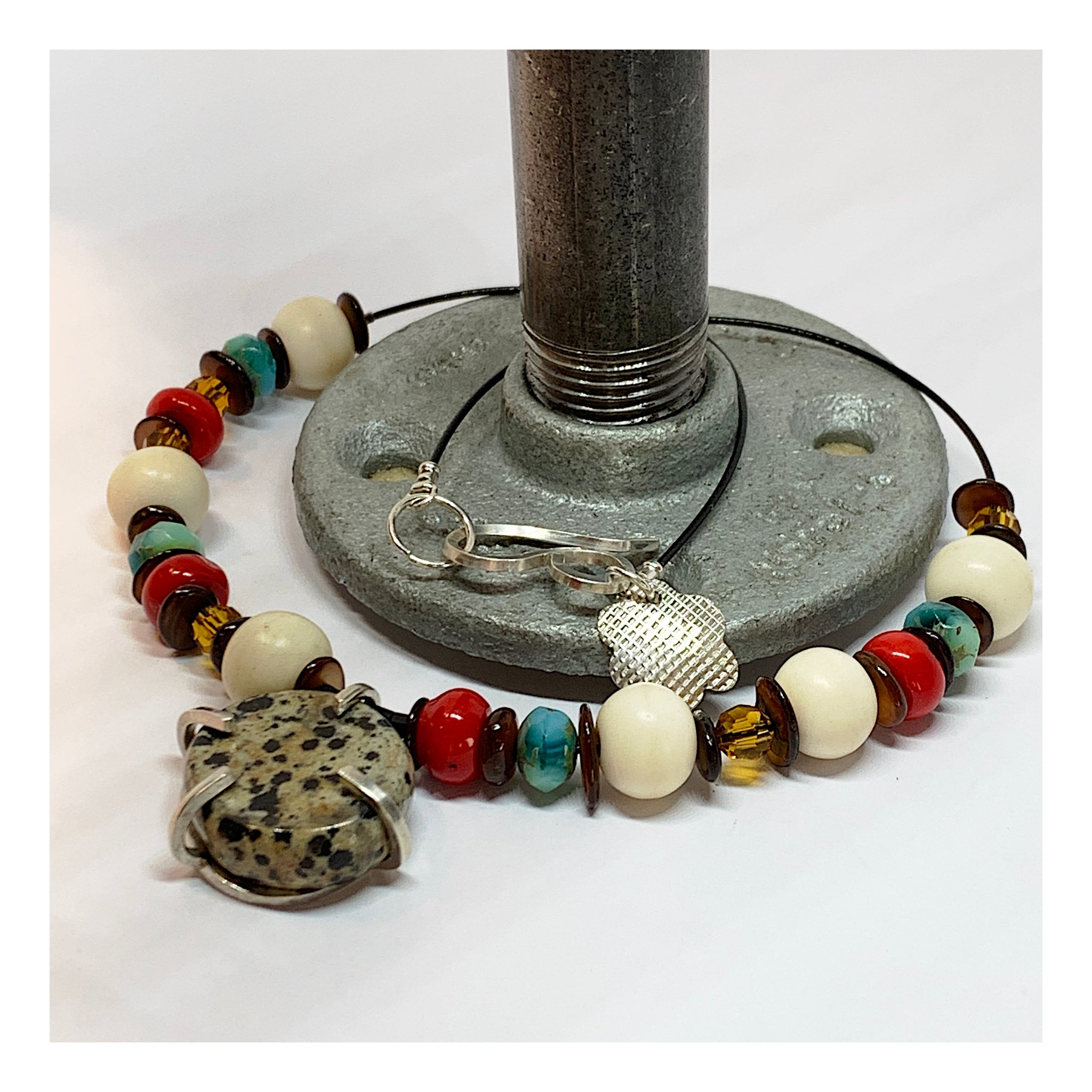 Organic Stone and Bead Necklace - Statement Jewelry