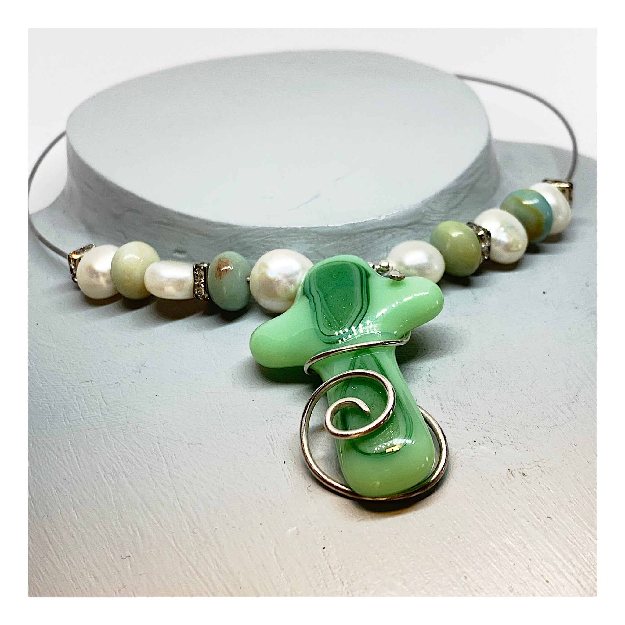 Ceramic Cross Necklace - Pearl and Gemstone Choker - Green Color Tones