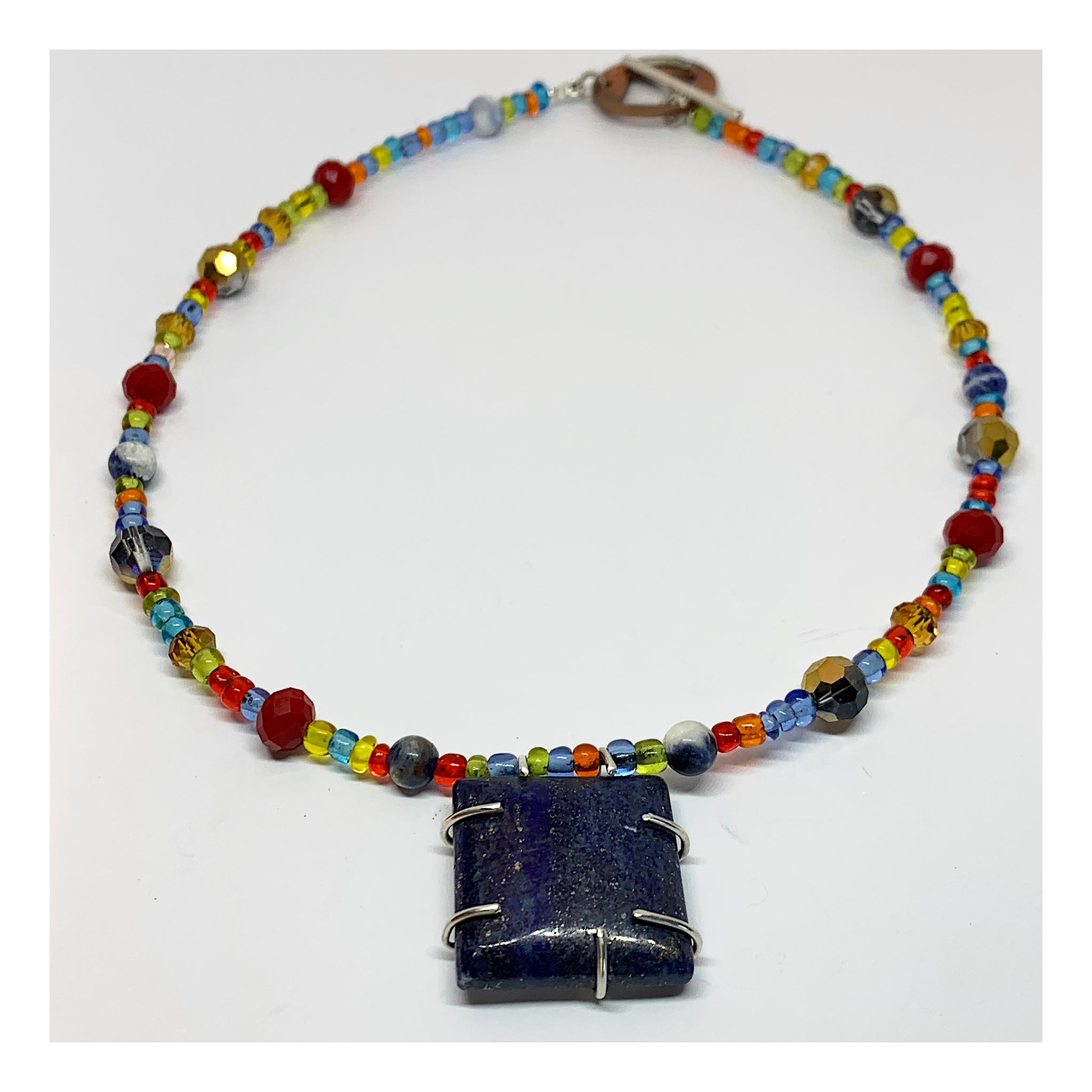 Colorful Bohemian Necklace With Square Lapis Stone