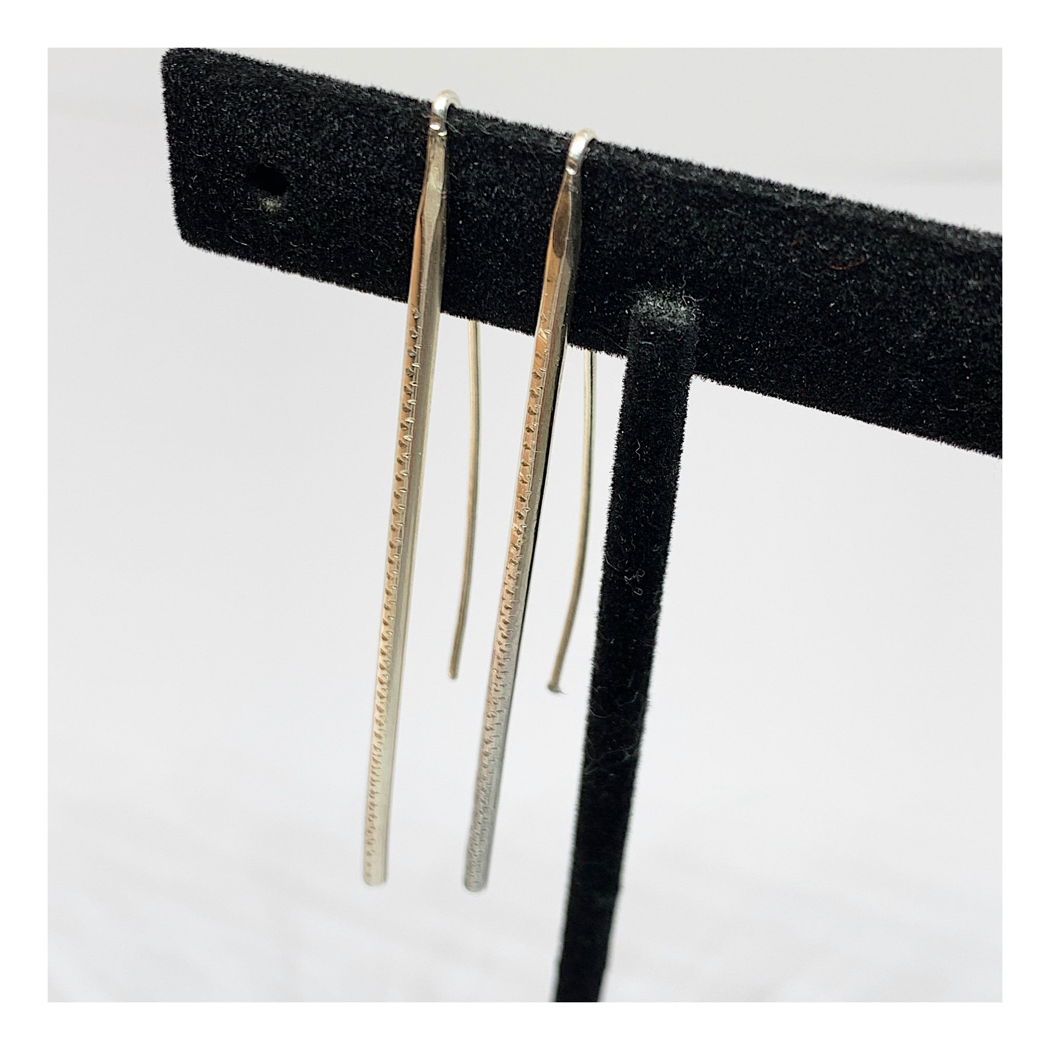 Very Long Sterling Silver Forged Stick Earrings - Unique Jewelry