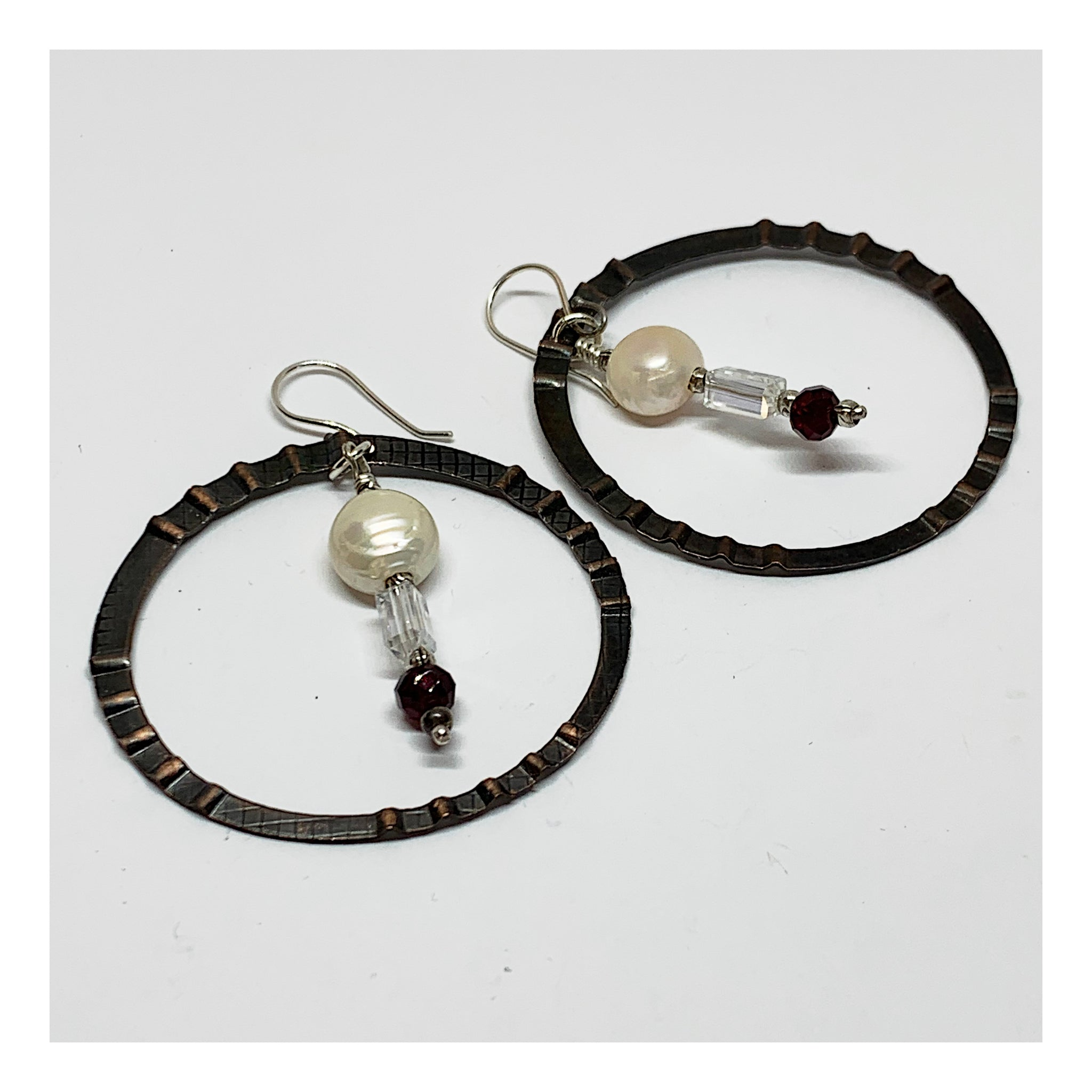 Two Inch Hoop Earrings in Mixed Metals - Unique OOAK Jewelry