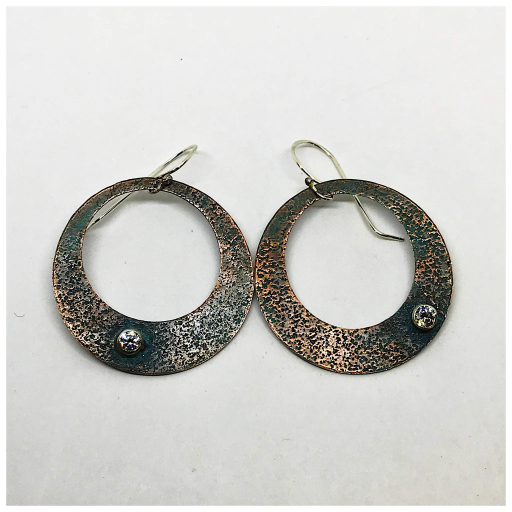 Copper Hoop Earrings With CZs