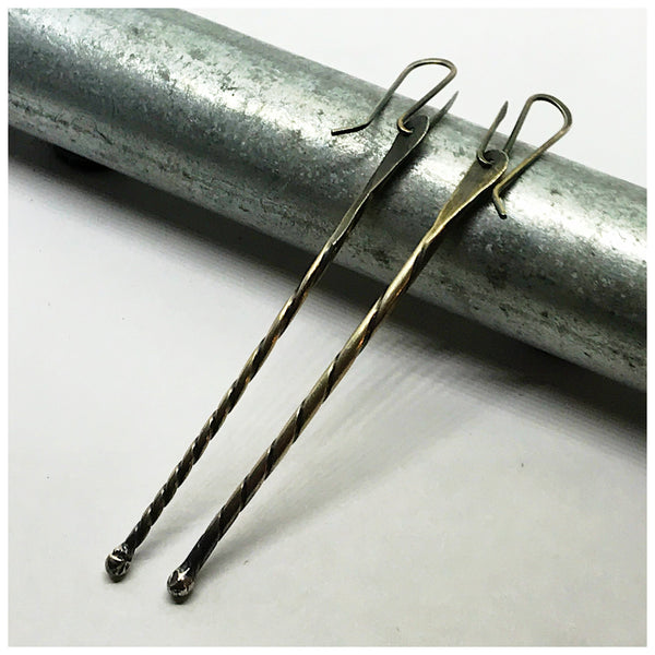 Three Inch Sterling Twisted Wire Earrings