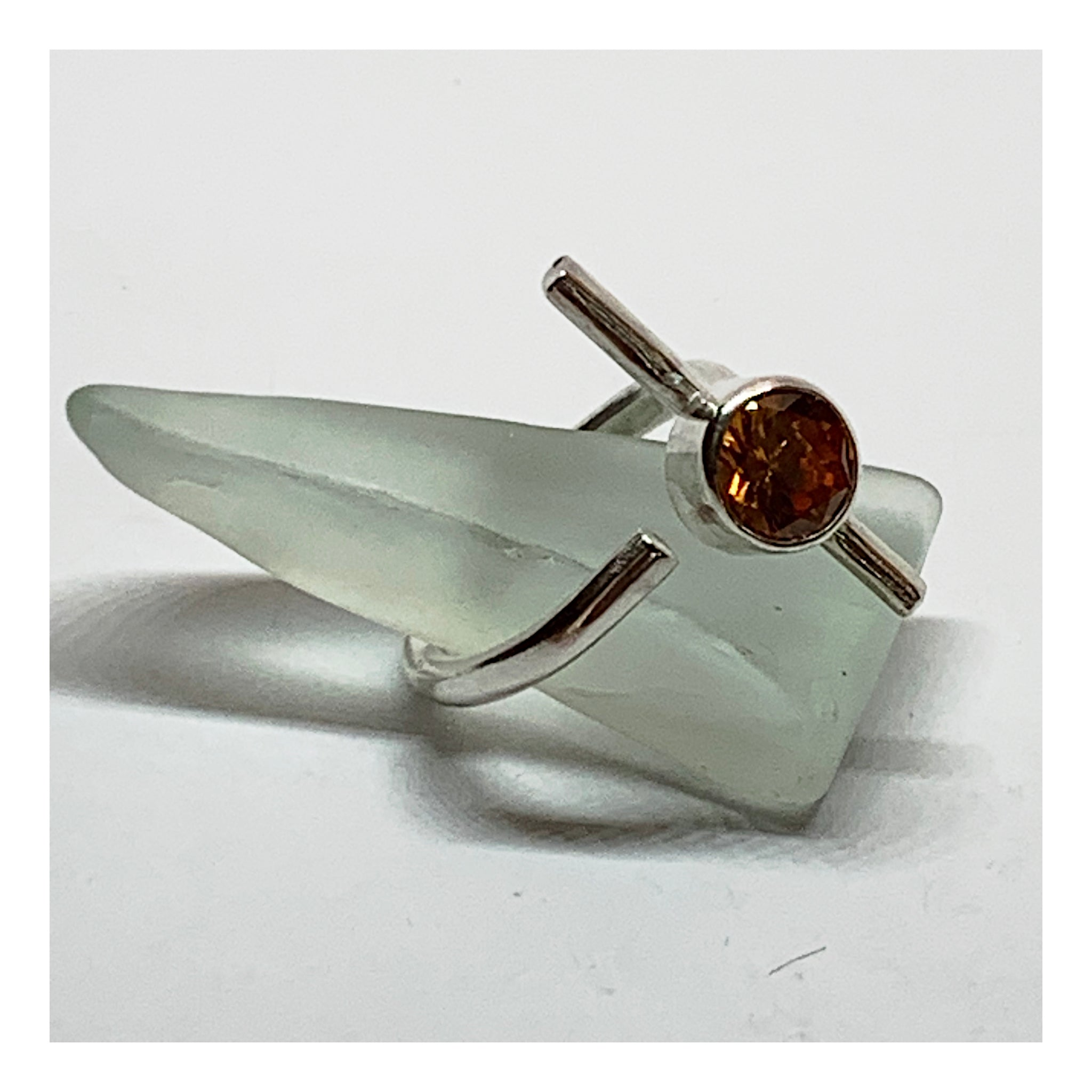 Contemporary Sterling Silver Ring With Large Burnt Orange Cubic Zirconia
