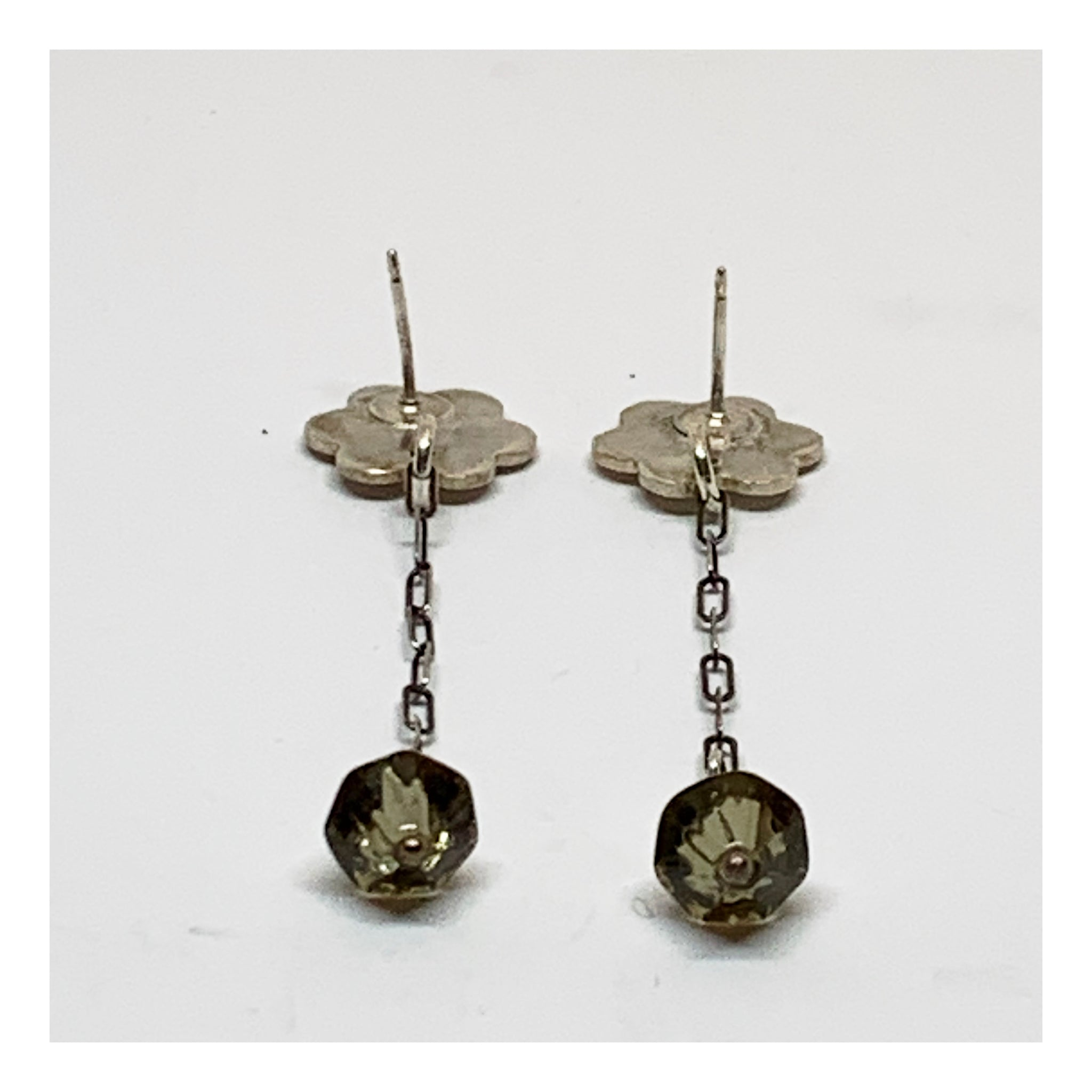 Long Silver Earrings With Flower and Gray Bicone Bead