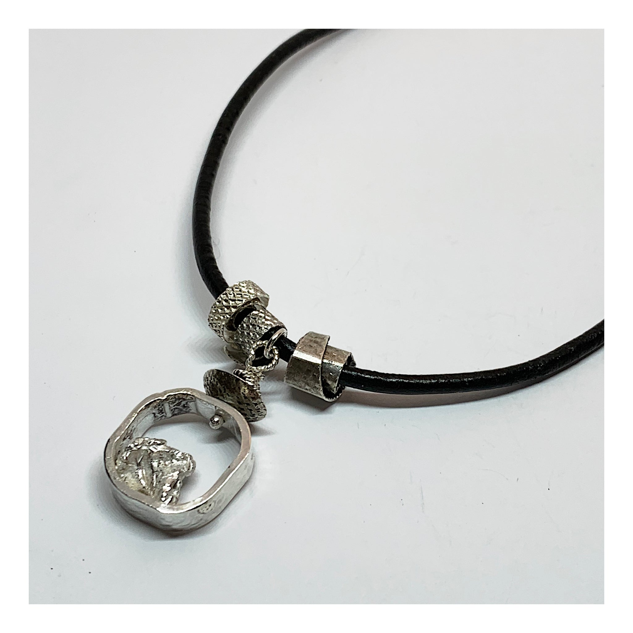Silver Nuggat Necklace on Black Leather Cord - Choker Length