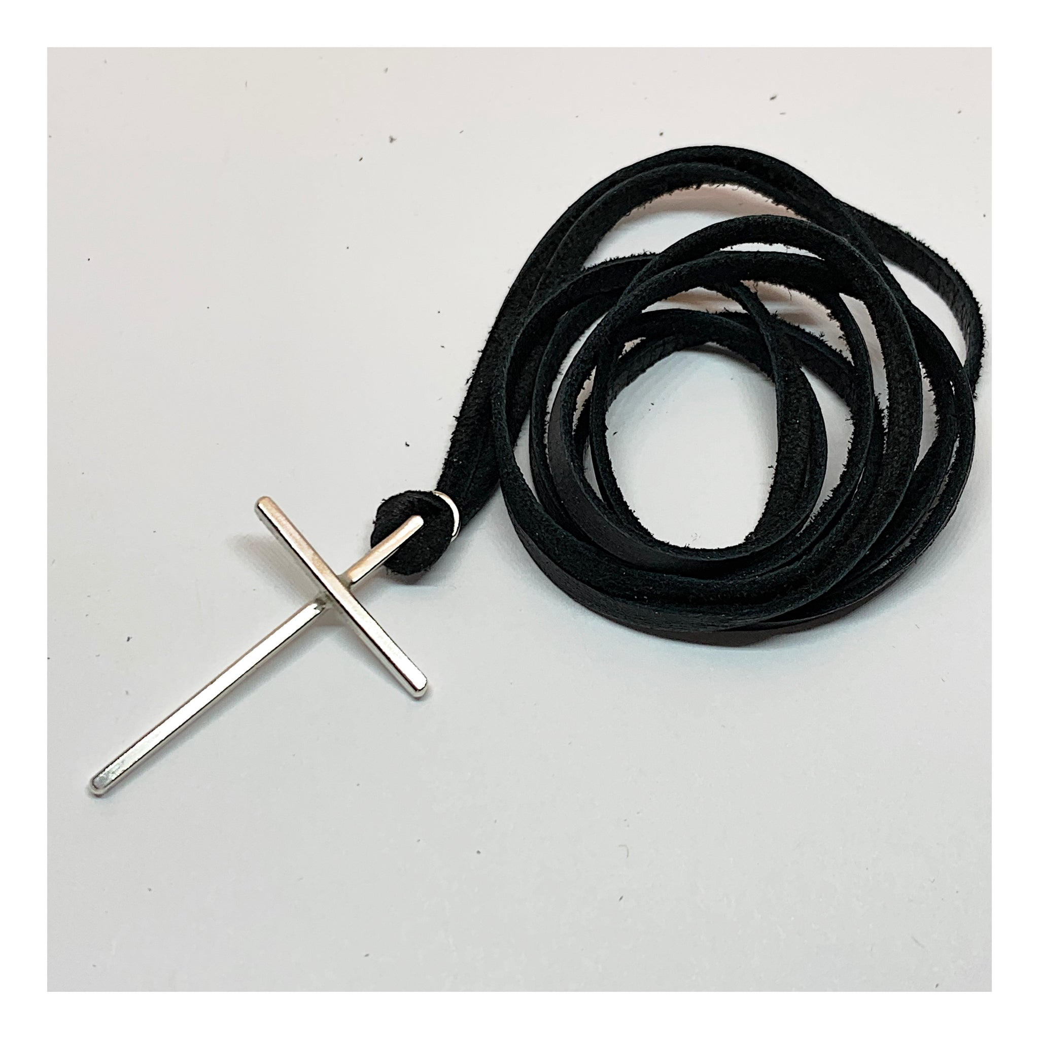 Black Suede Layering Choker with Sterling Silver Cross