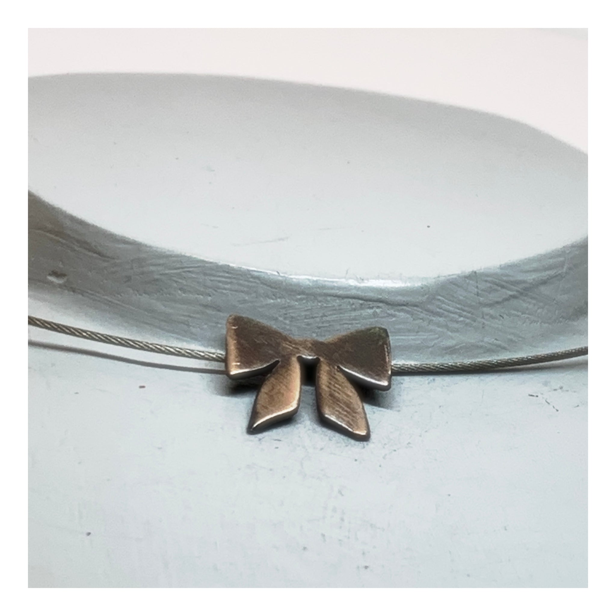 Silver Ribbon Choker - Minimalist Jewelry - Trending Now Necklace