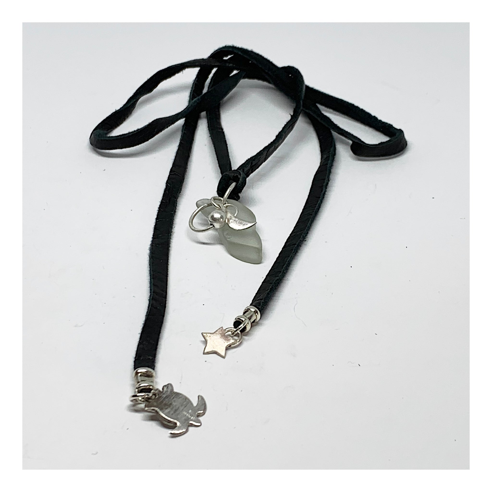 Black Tie On Choker With Beach Glass And Silver Charms