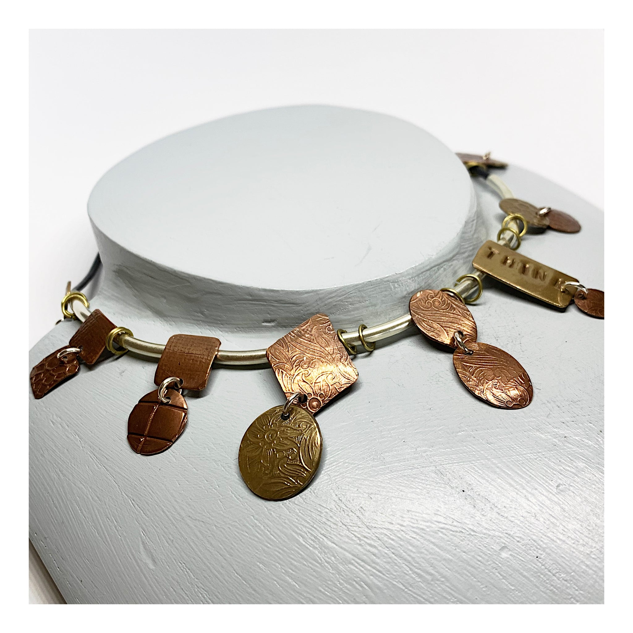 Contemporary Choker in Mixed Metals and Leather - Think Slogan