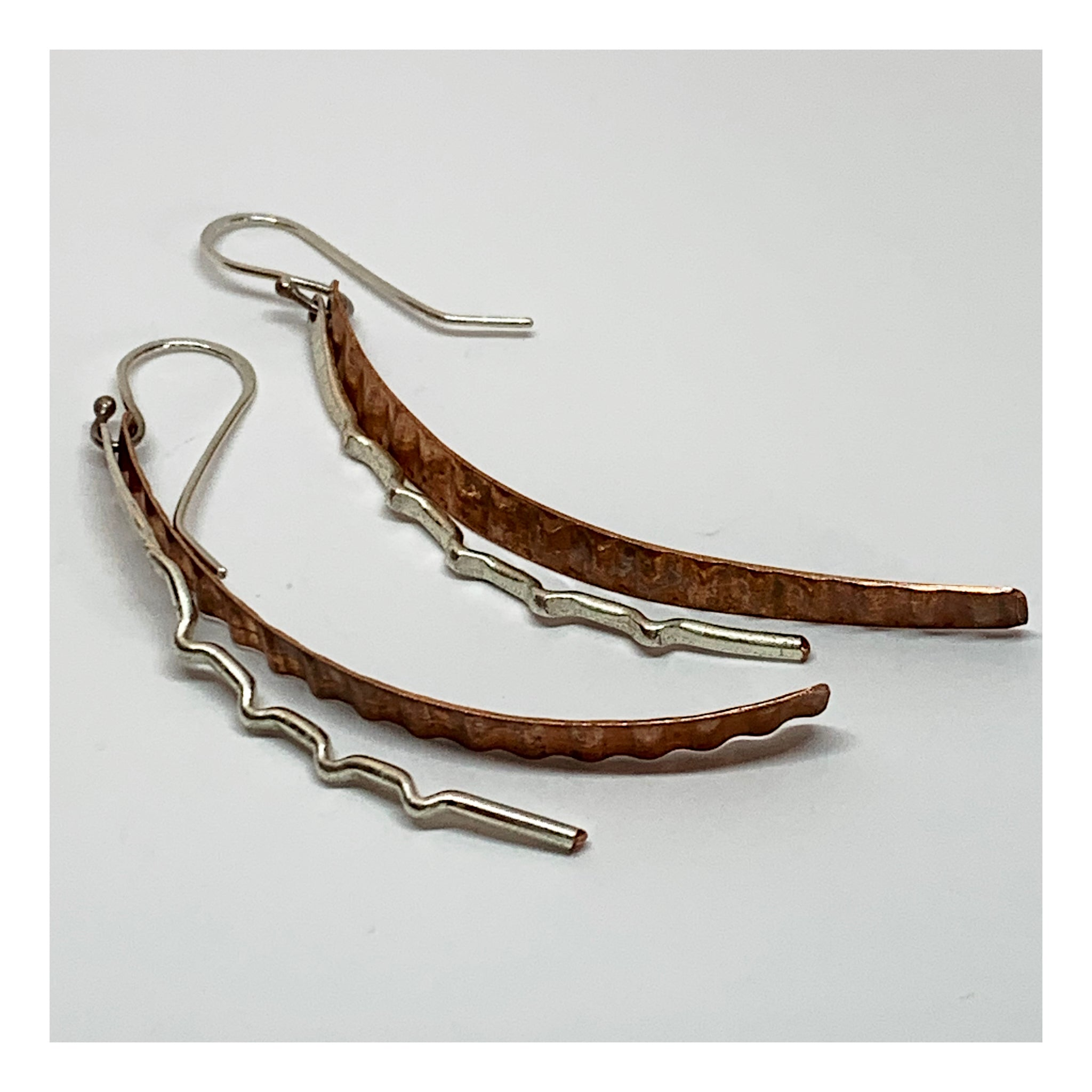 Long Organic Mixed Metals Earrings - Copper and Silver