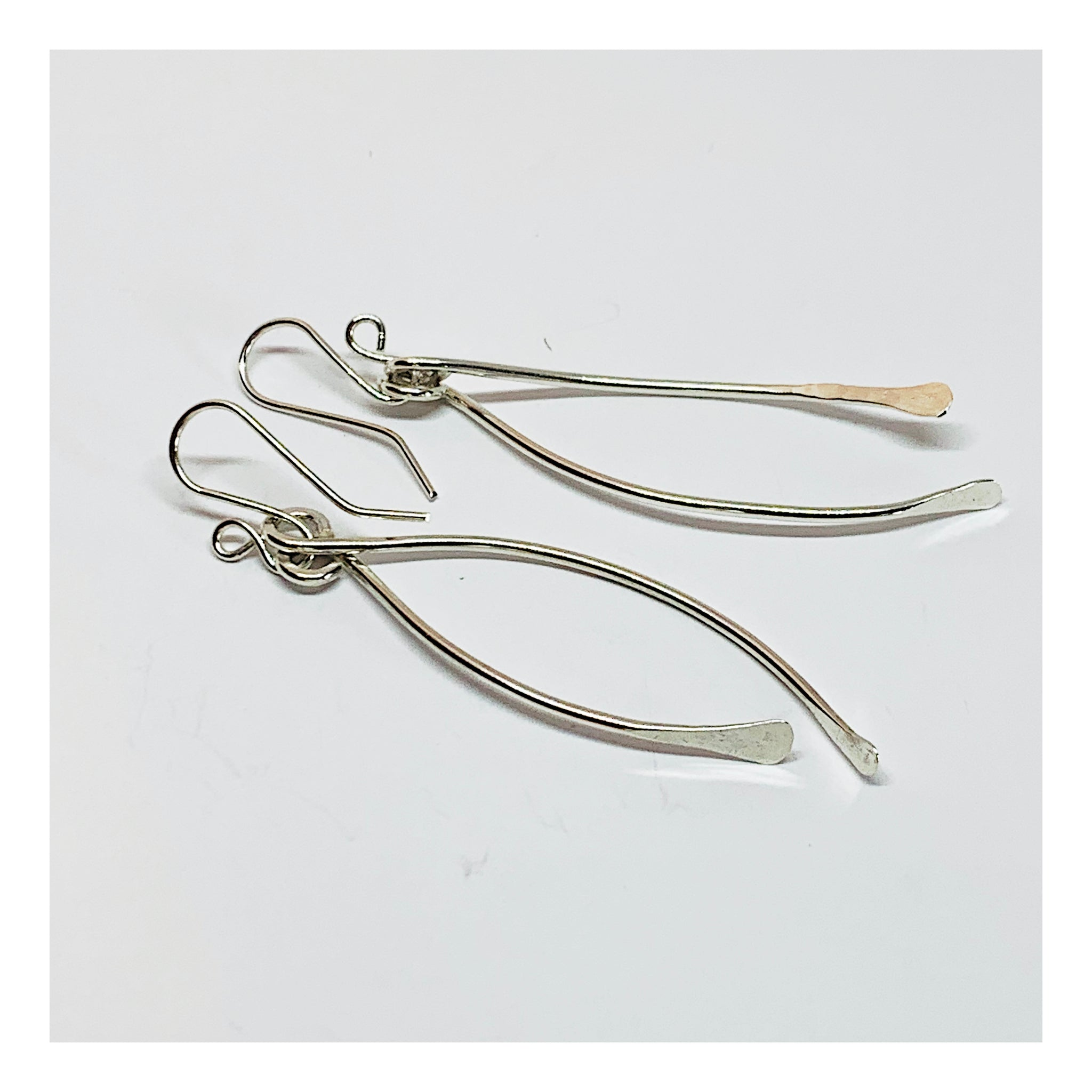 Long Unique and Unusual Sterling Silver Minimalist Earrings