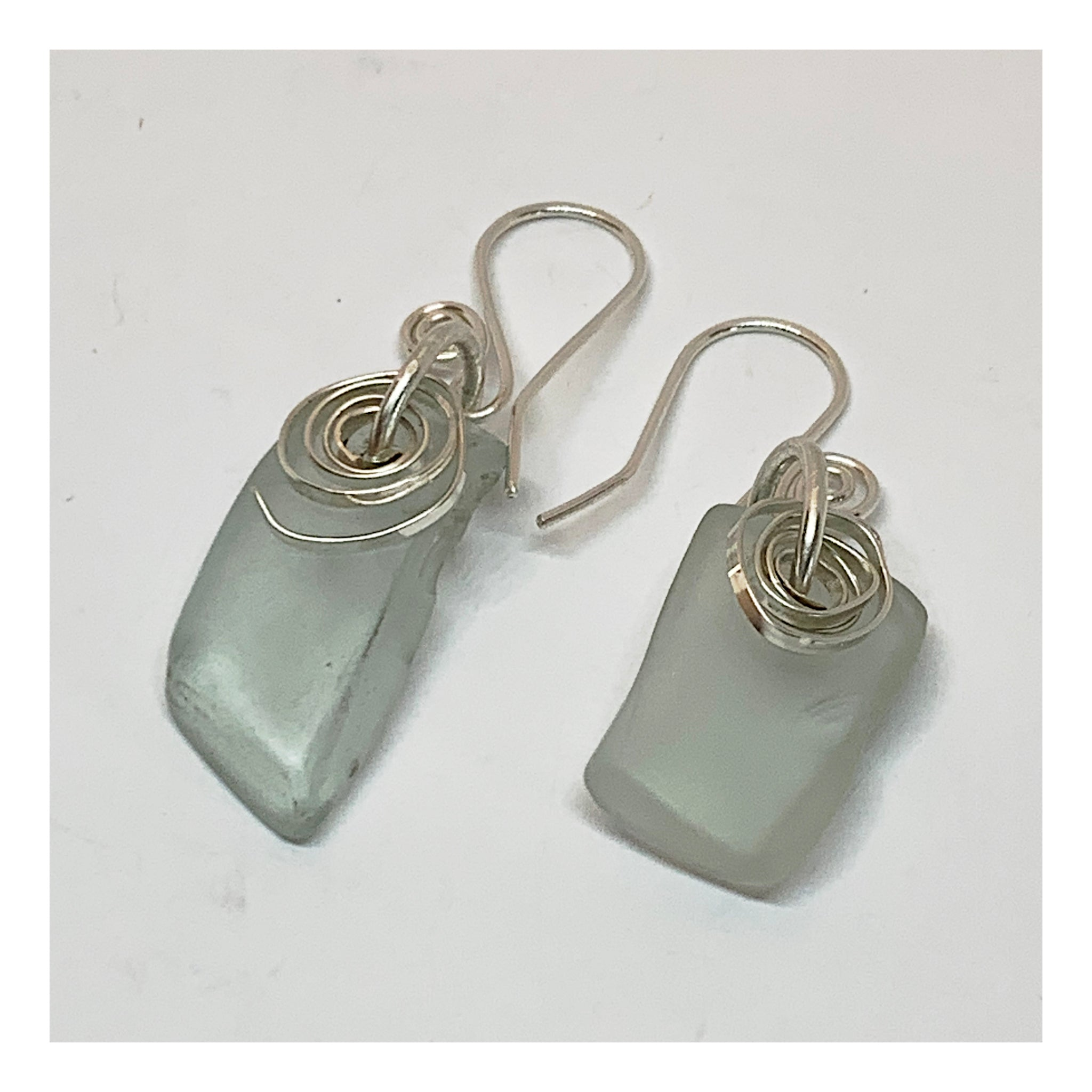 Found Beach Glass Earrings in Sterling Silver