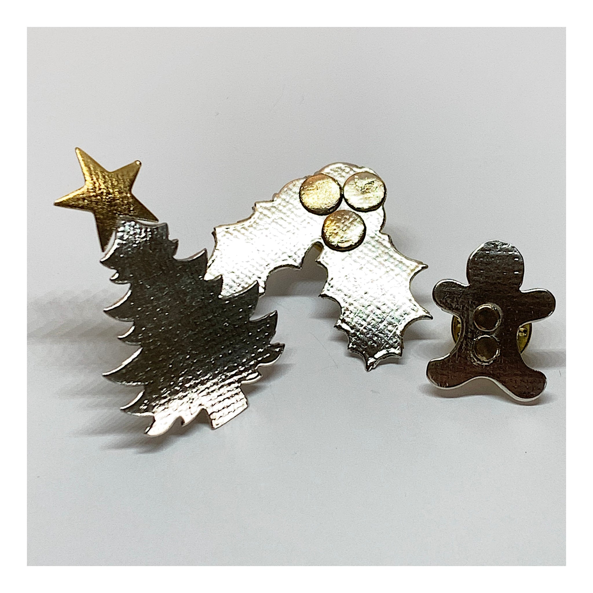 Holiday Pin Set - Gingerbread Man Pin - Christmas Tree Pin - Holly Branch Pin