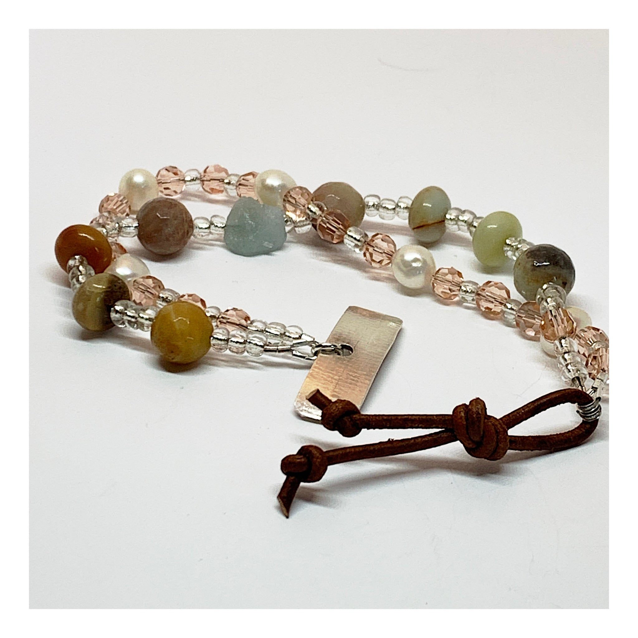 Semi Precious Gemstone Bracelet In Soft Pink and Brown Tones