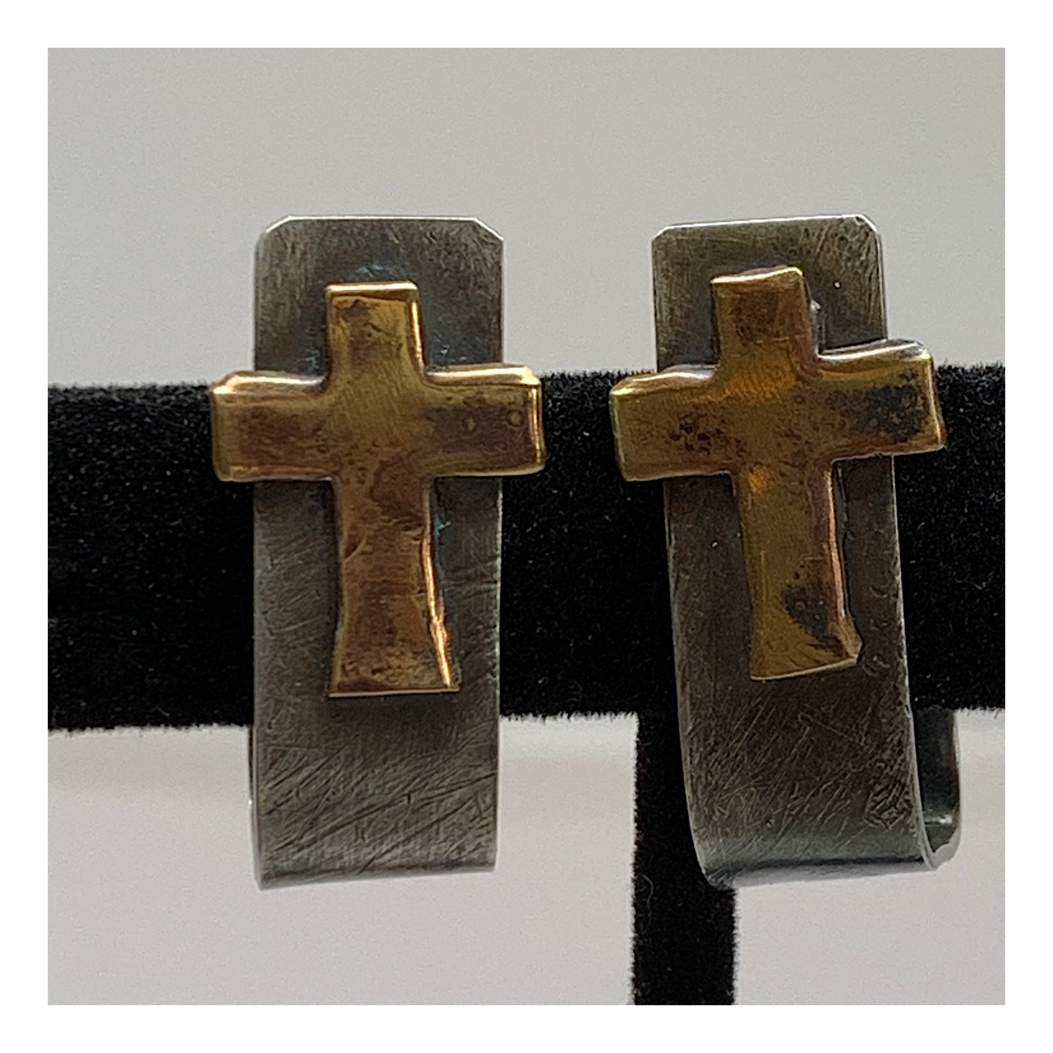 Chunky Silver Post Earrings With Brass Cross