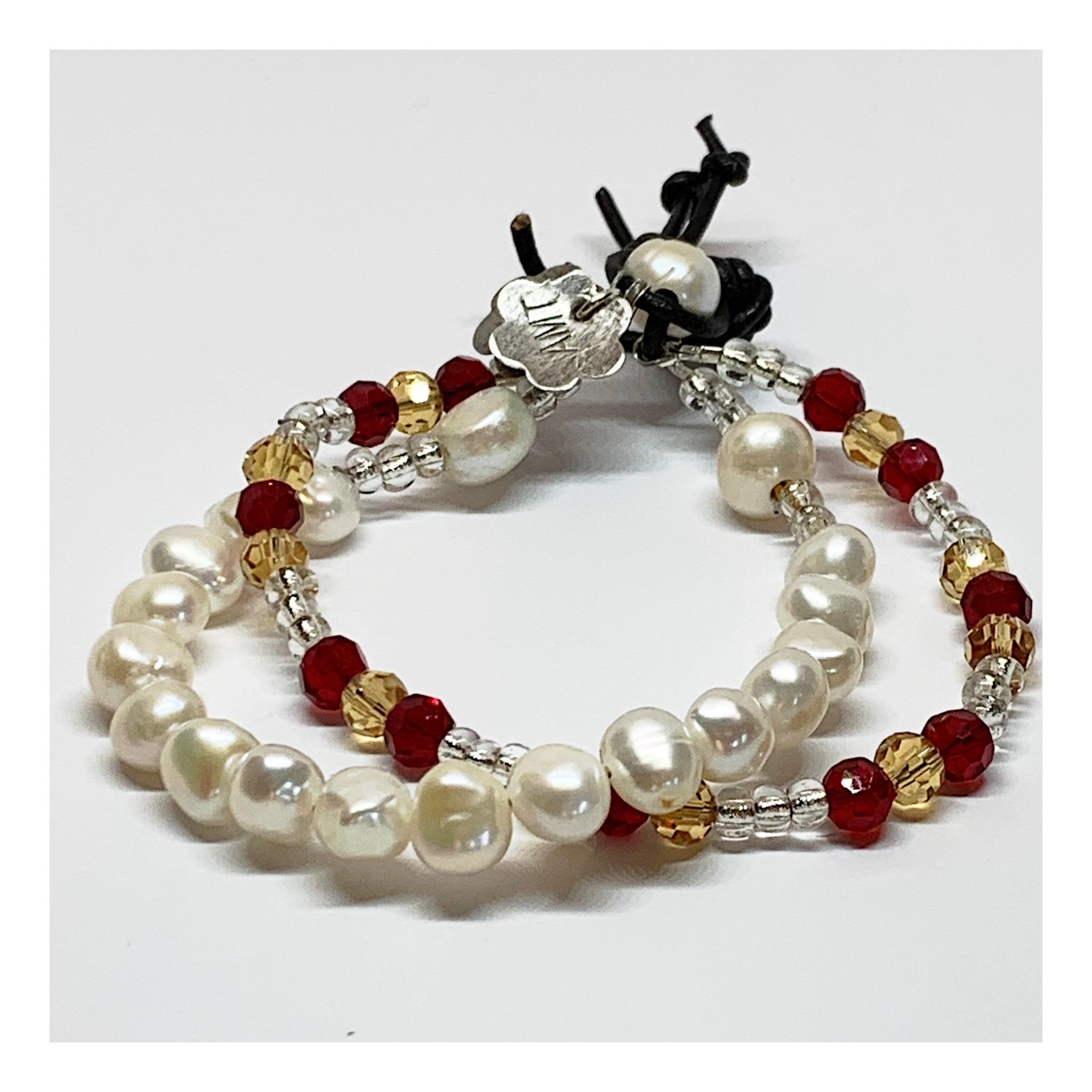 Contemporary Pearl and Crystal Bead Bracelet - Elegant Jewelry Gift