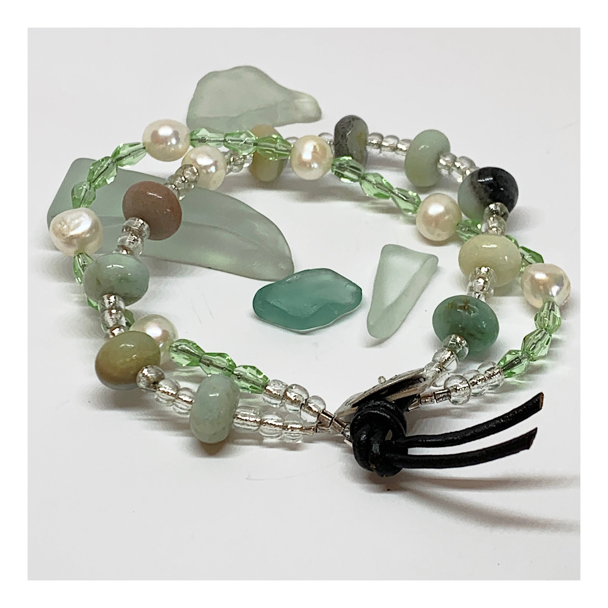 Contemporary Amazonite and Pearl Bead Bracelet - Trending Jewely - Mint Green