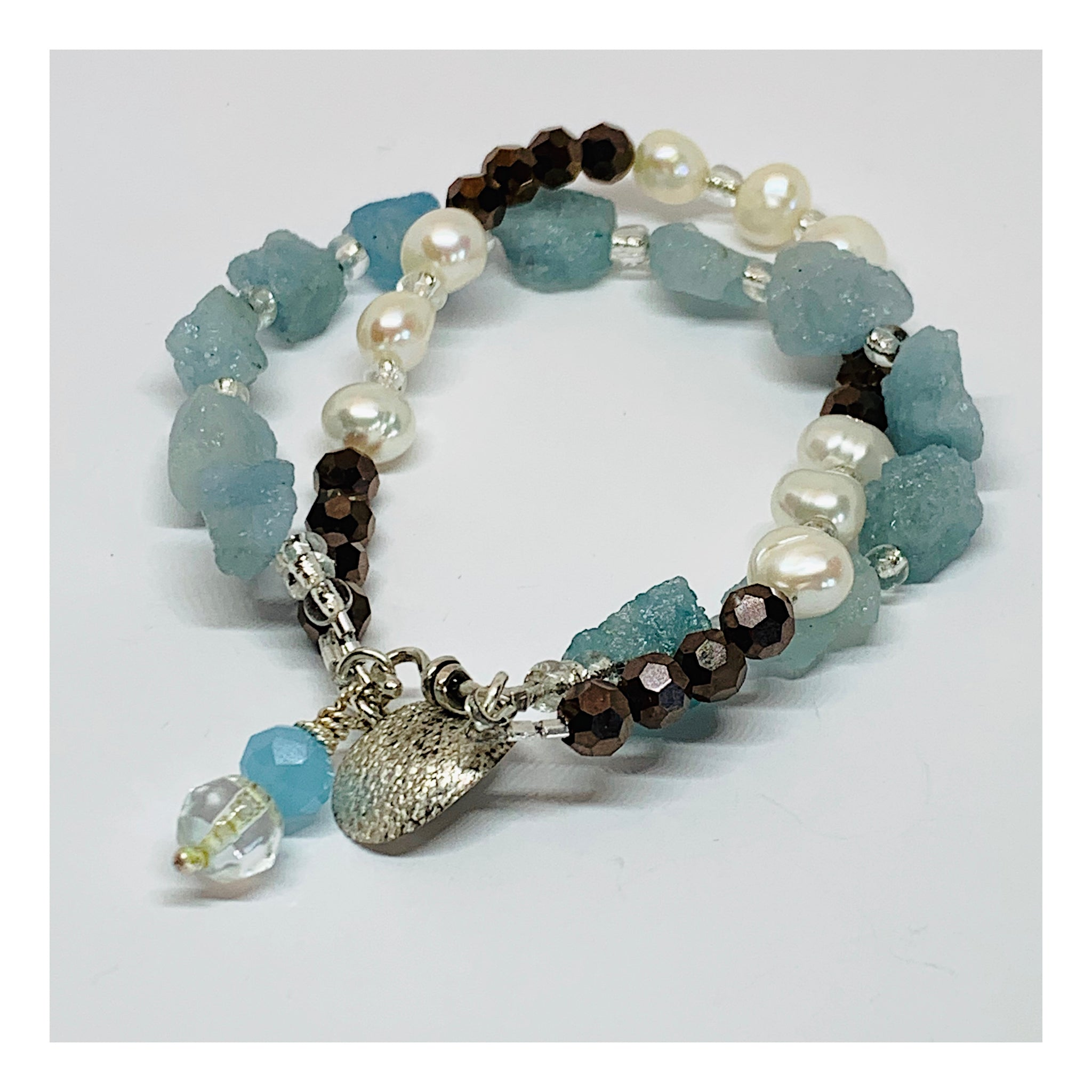 Contemporary Gemstone Bracelet in Blue Aquamarines and White Potato Pearls