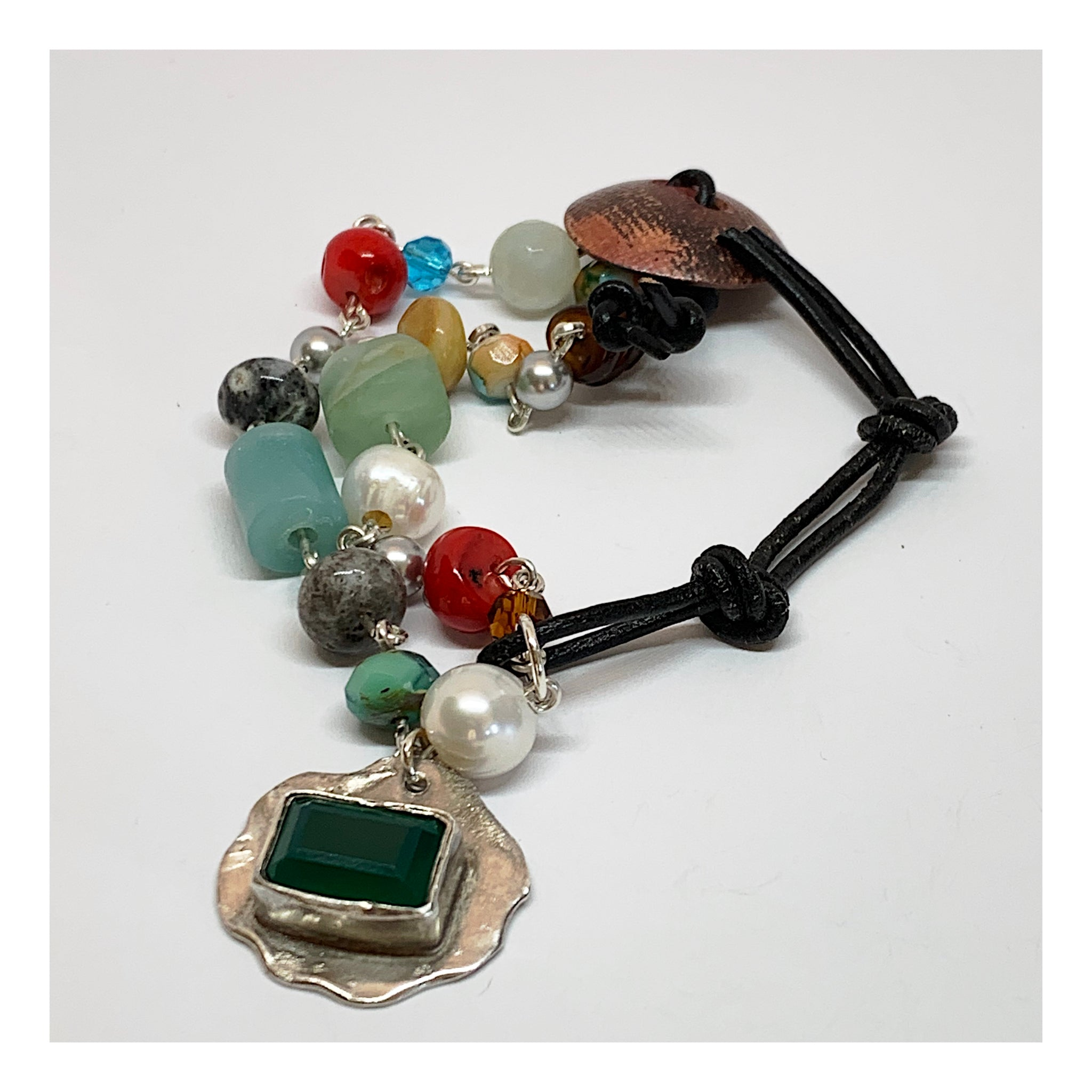 Contemporary and Colorful Gemstone Bracelet in Mixed  Metals