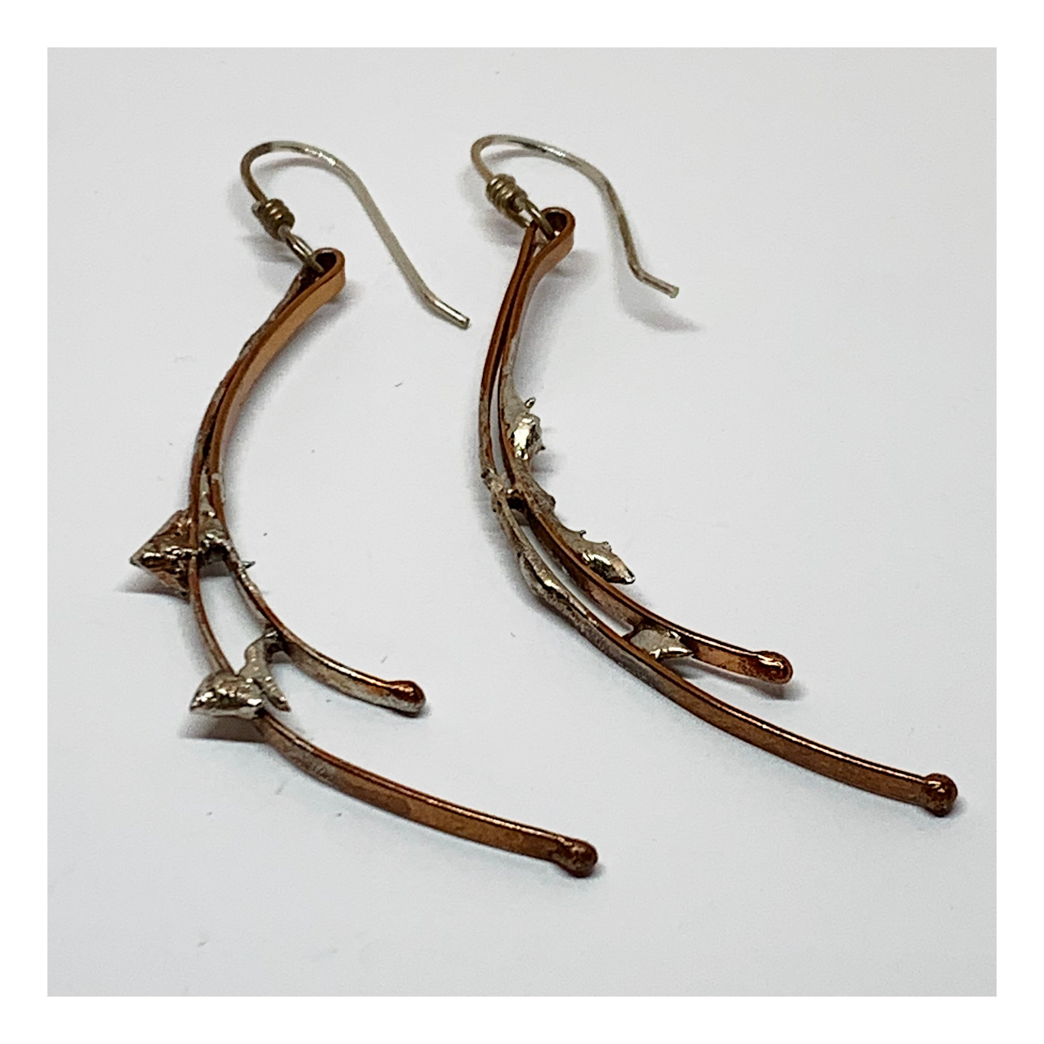 Extra Long Copper and Sterling Earrings - Unusual One of a Kind Jewelry