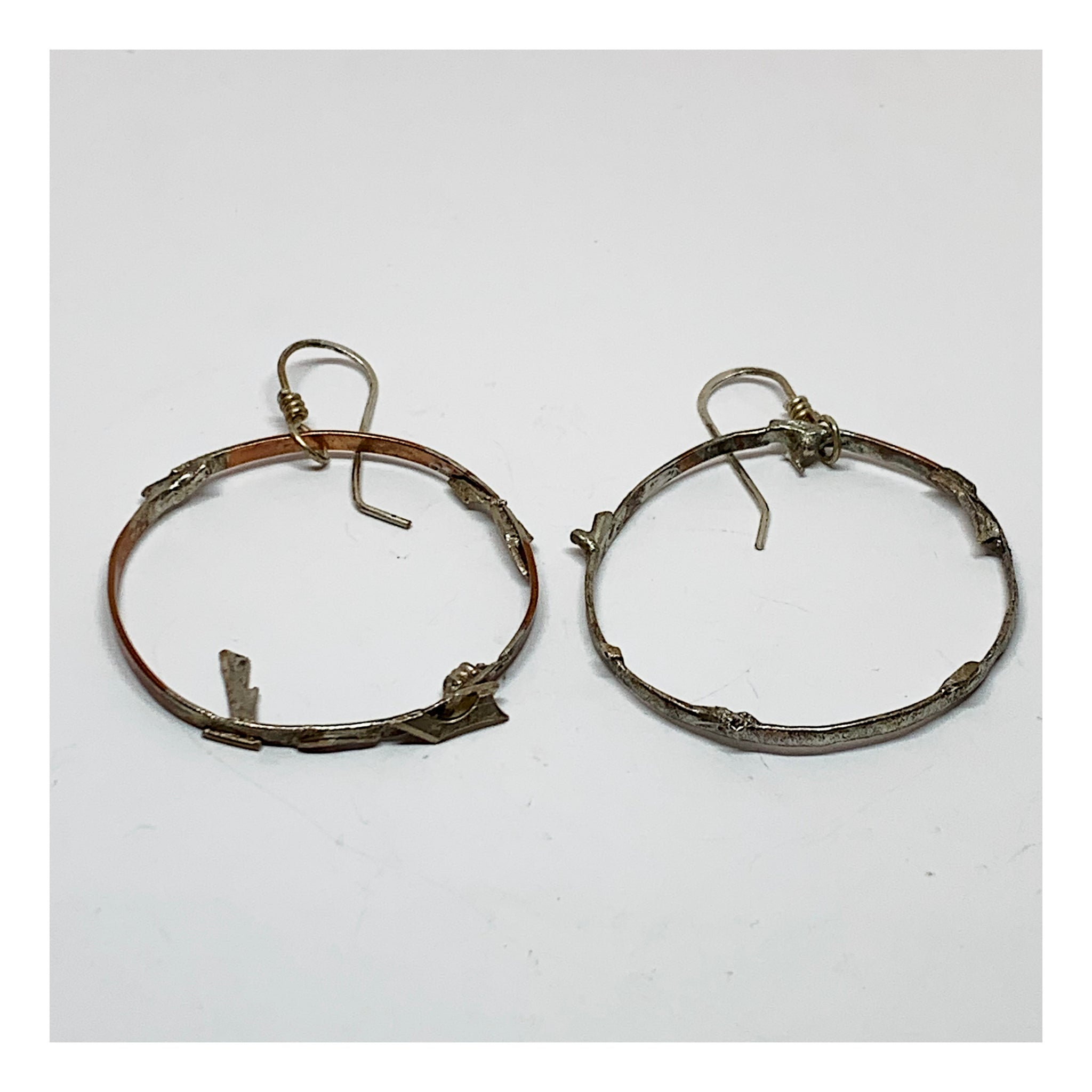Hoop Earrings in Copper and Silver - Unique and Unusual Jewelry - Artisan Handmadw Jewelry