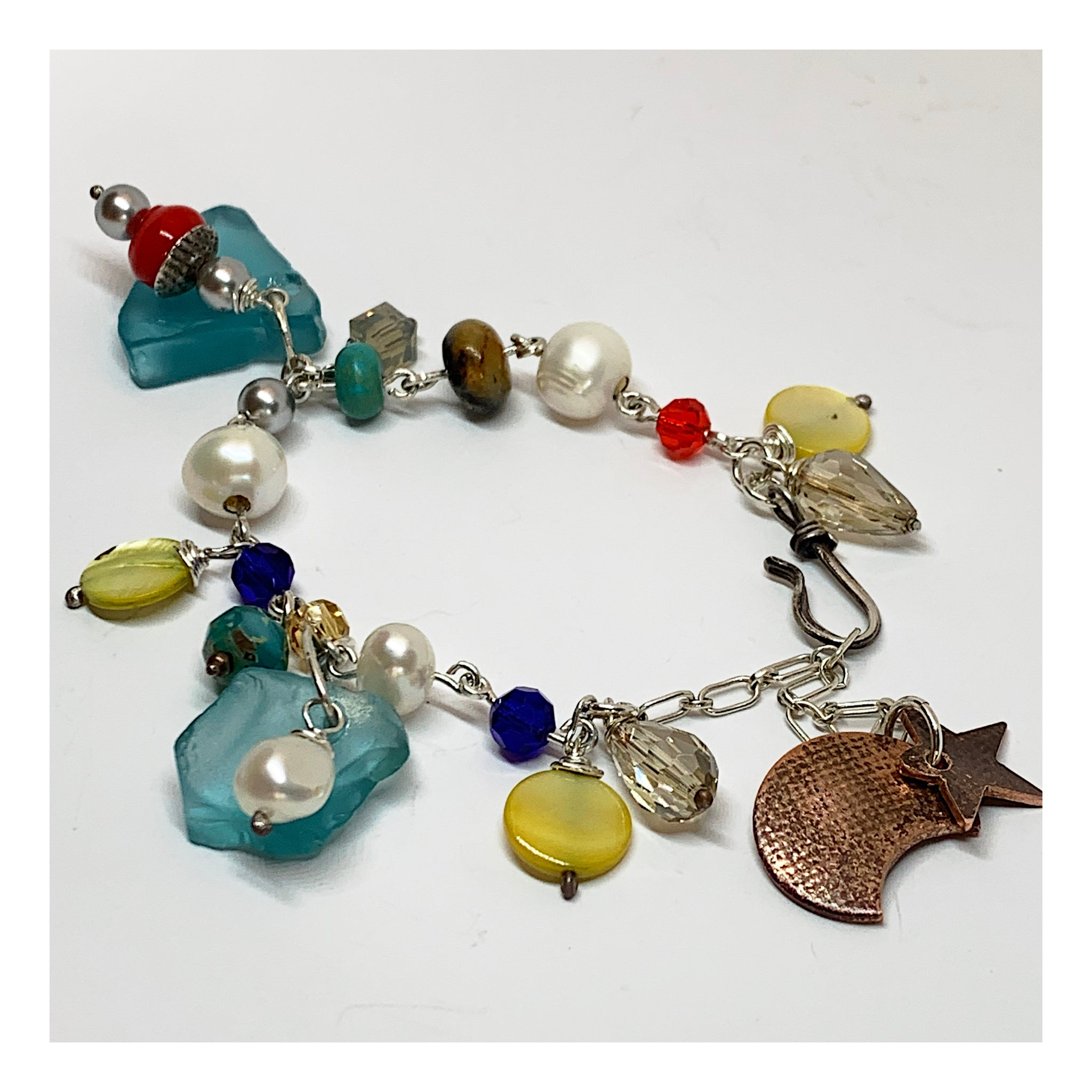 Colorful Contemporary Mixed Metal Beaded Bracelet