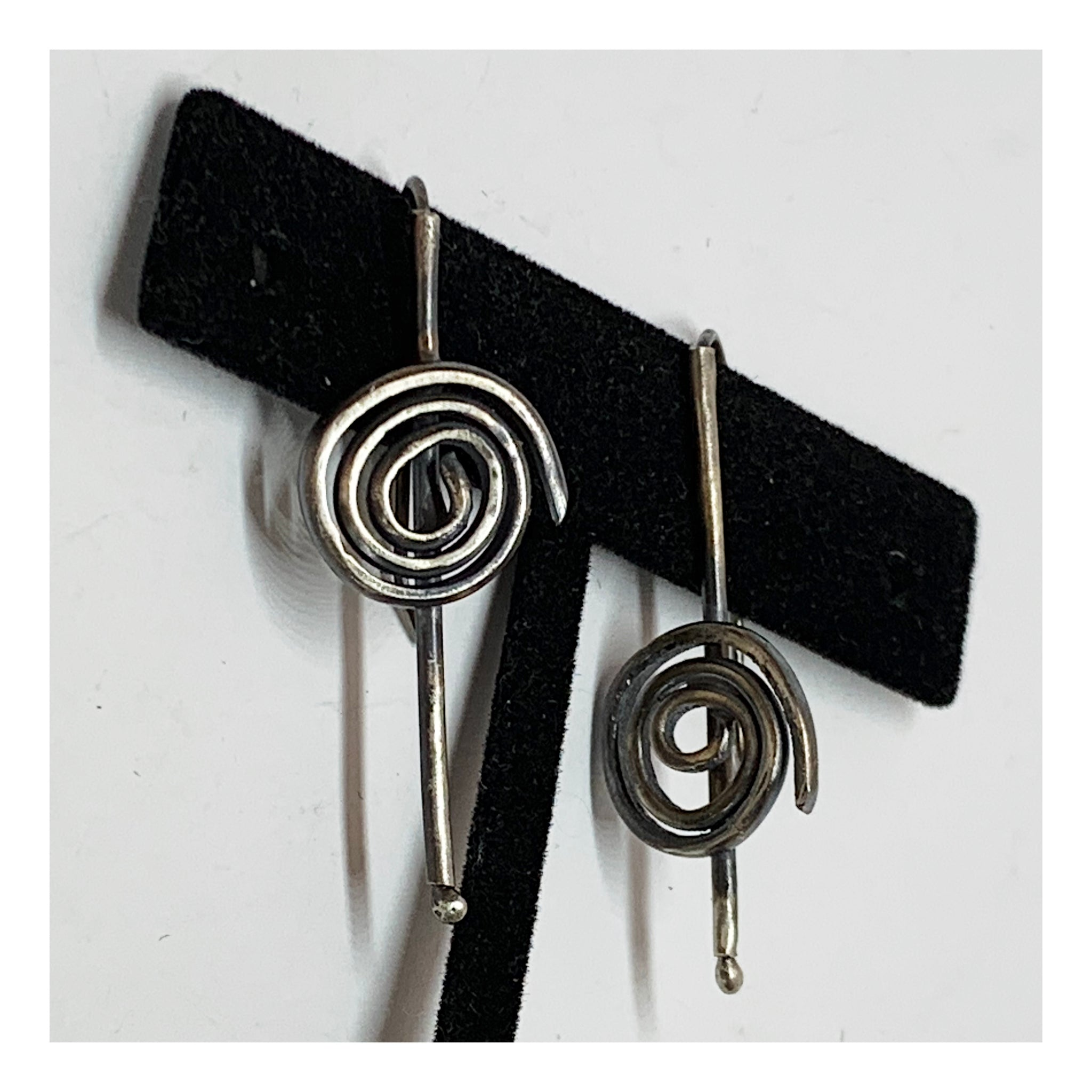 Asymmetrical Sterling Silver Earrings- Tube and Spiral Earrings - Jewelry With No Rules