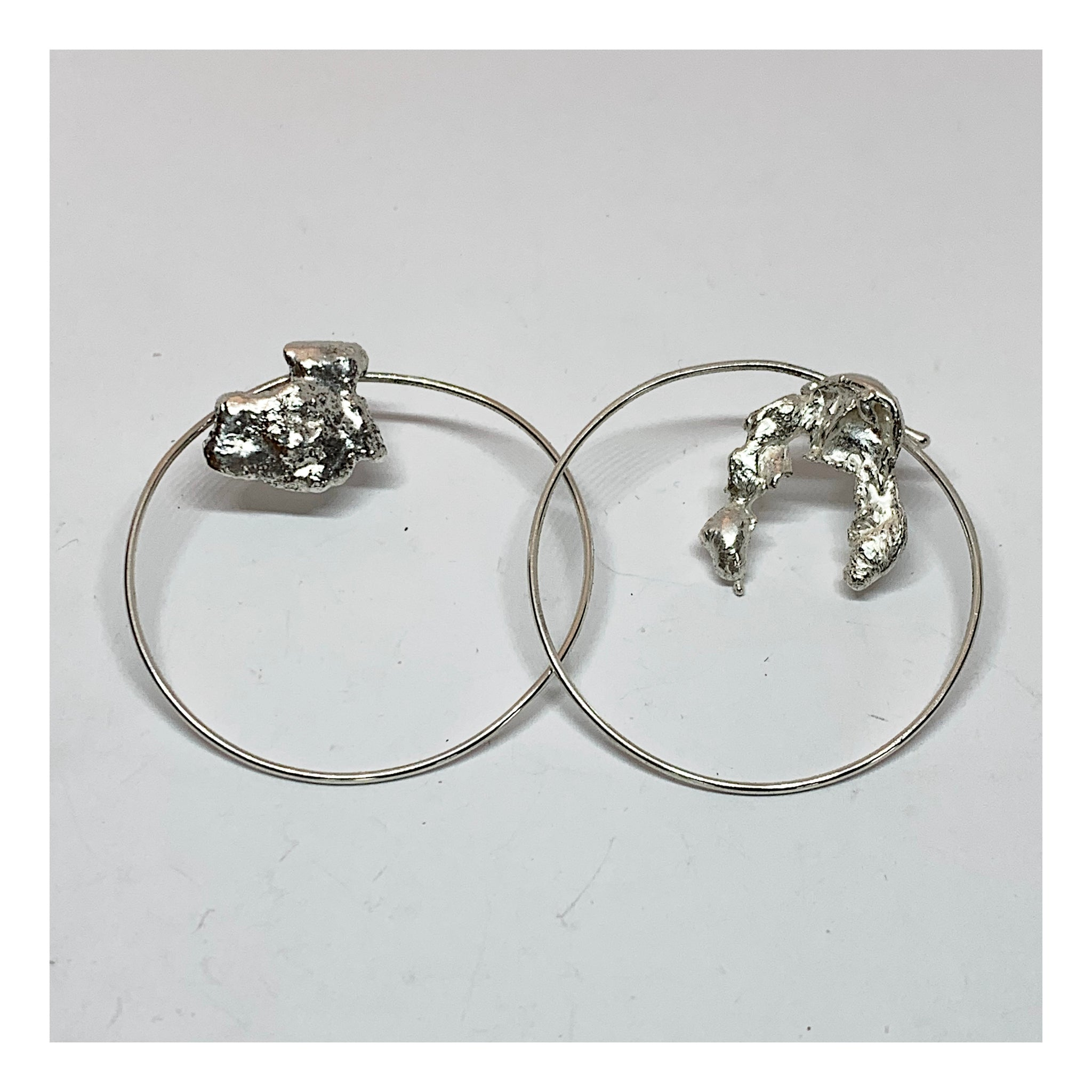 Asymmetrical Sterling Hoop Earrings - Reticulation Jewelry - One of a Kind Jewelry