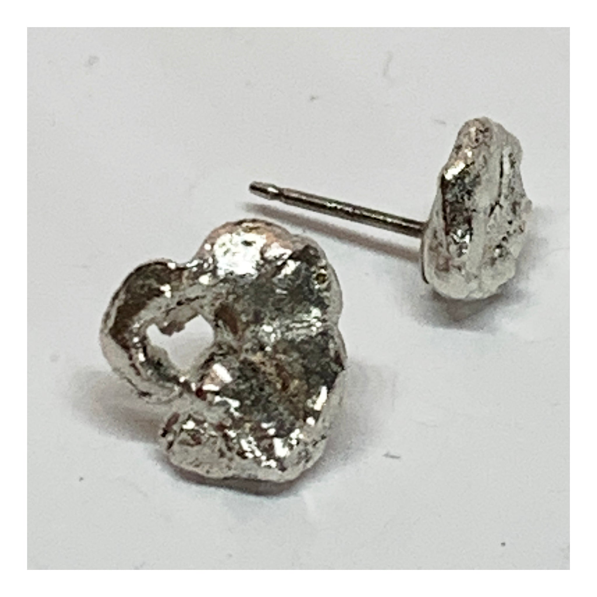Asymmetrical Sterling Silver Nugget Earrings - One of a Kind Jewelry - Unique Unusual Jewelry