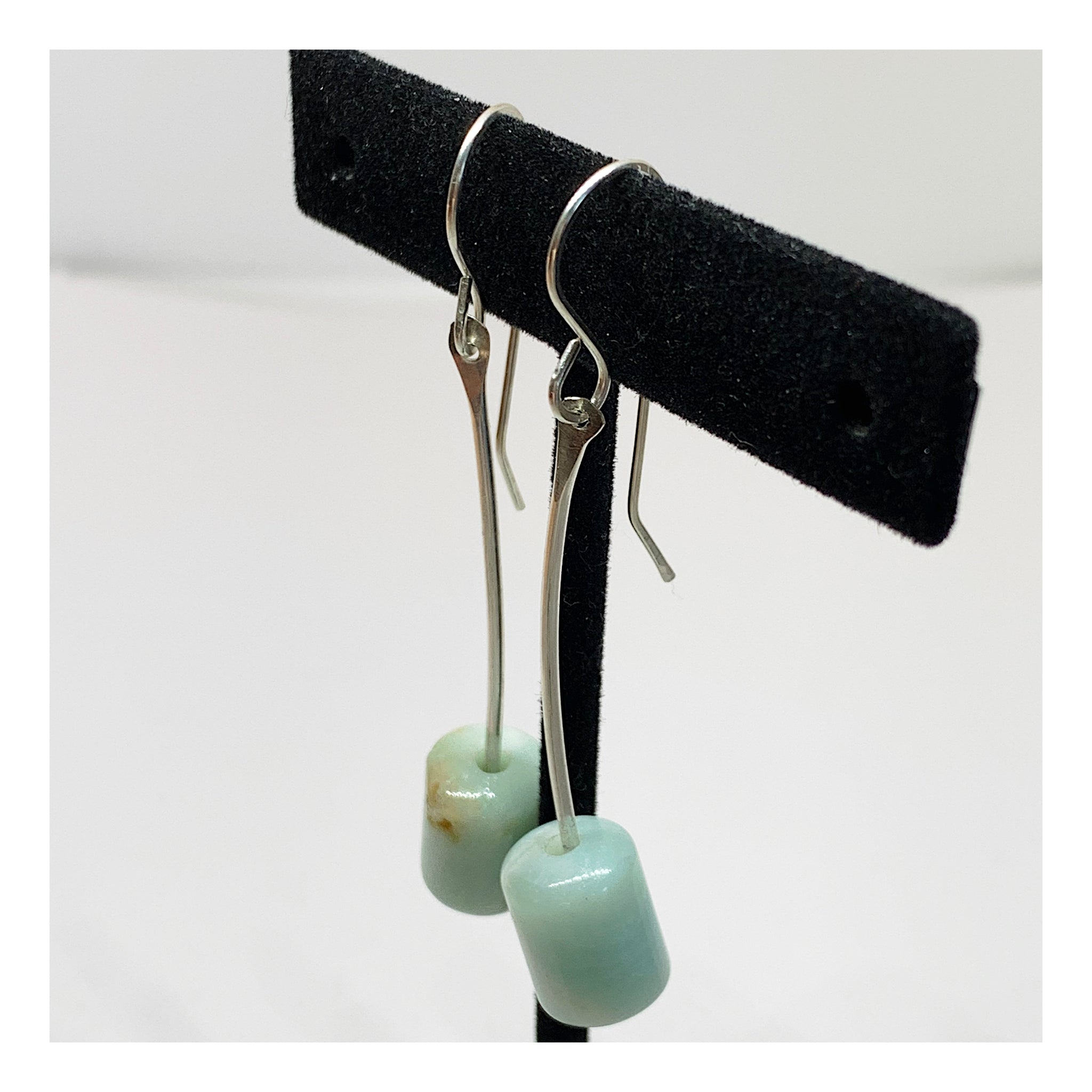 Very Long Sterling Silver Earrings With Amazonite Barrel Bead - Unique Unusual Jewelry