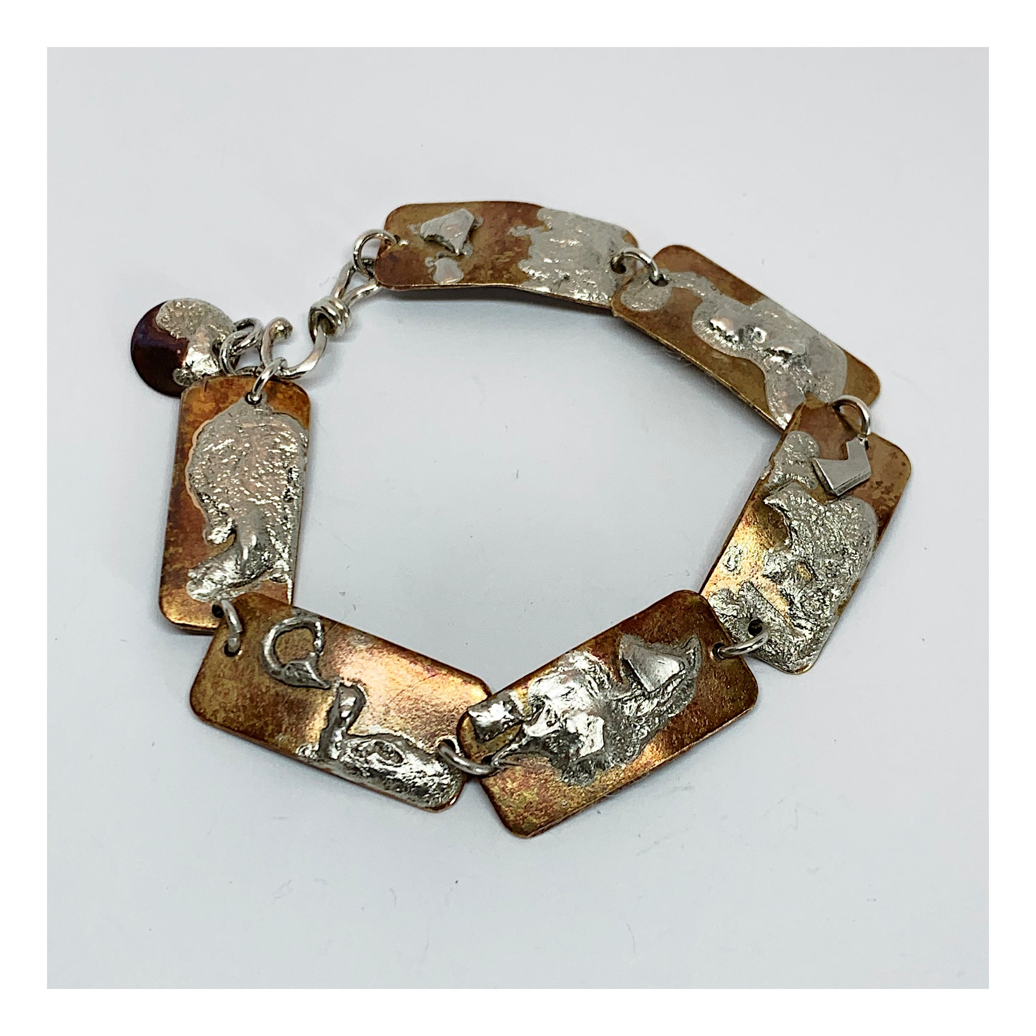Brass Link Bracelet With Sterling Reticulation