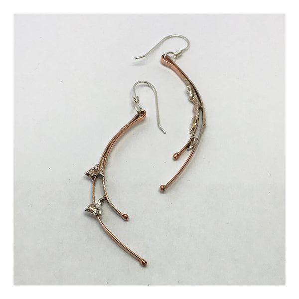 Extra Long Copper and Sterling Earrings