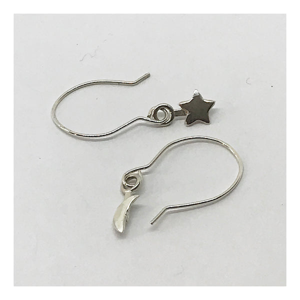 Sterling Silver Crescent Moon and Star Earrings