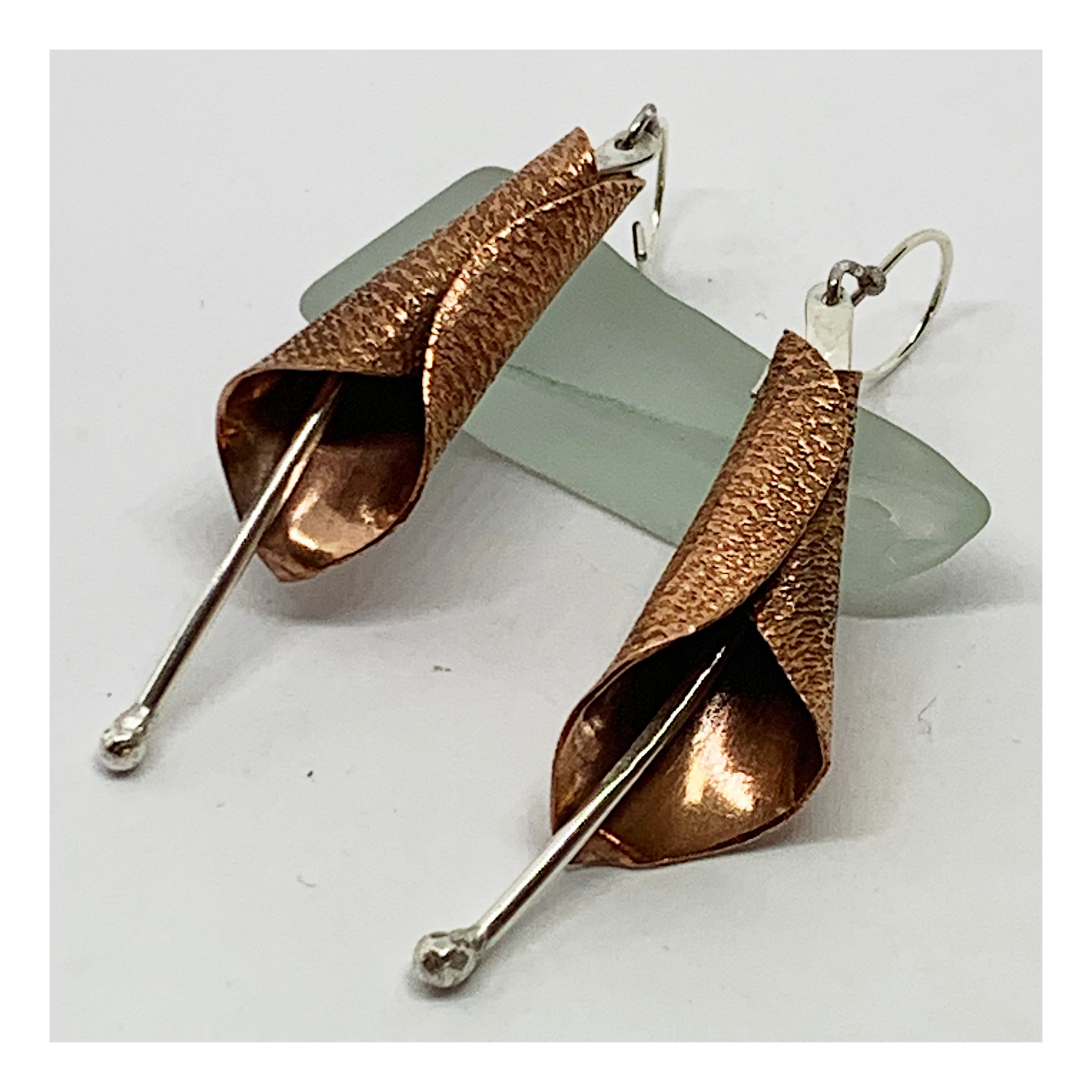 Copper and Sterling Silver Calla Lily Earrings