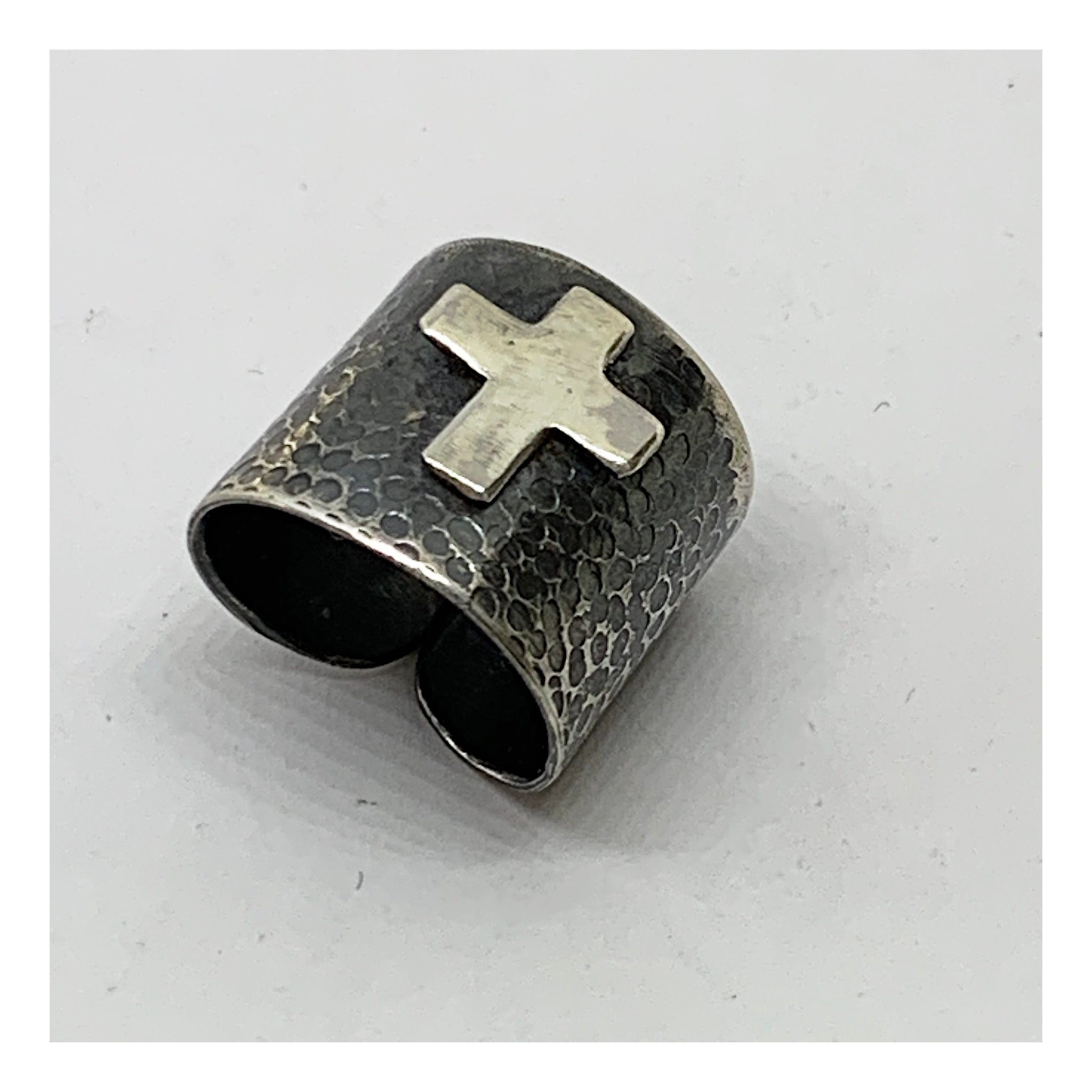Sterling Silver Open Back Statement Ring With Cross