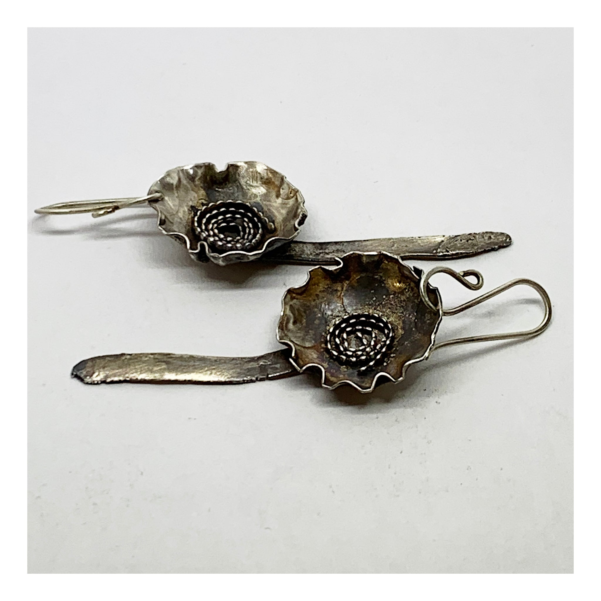 Sterling Silver Floral Earrings - Upcycled Jewelry