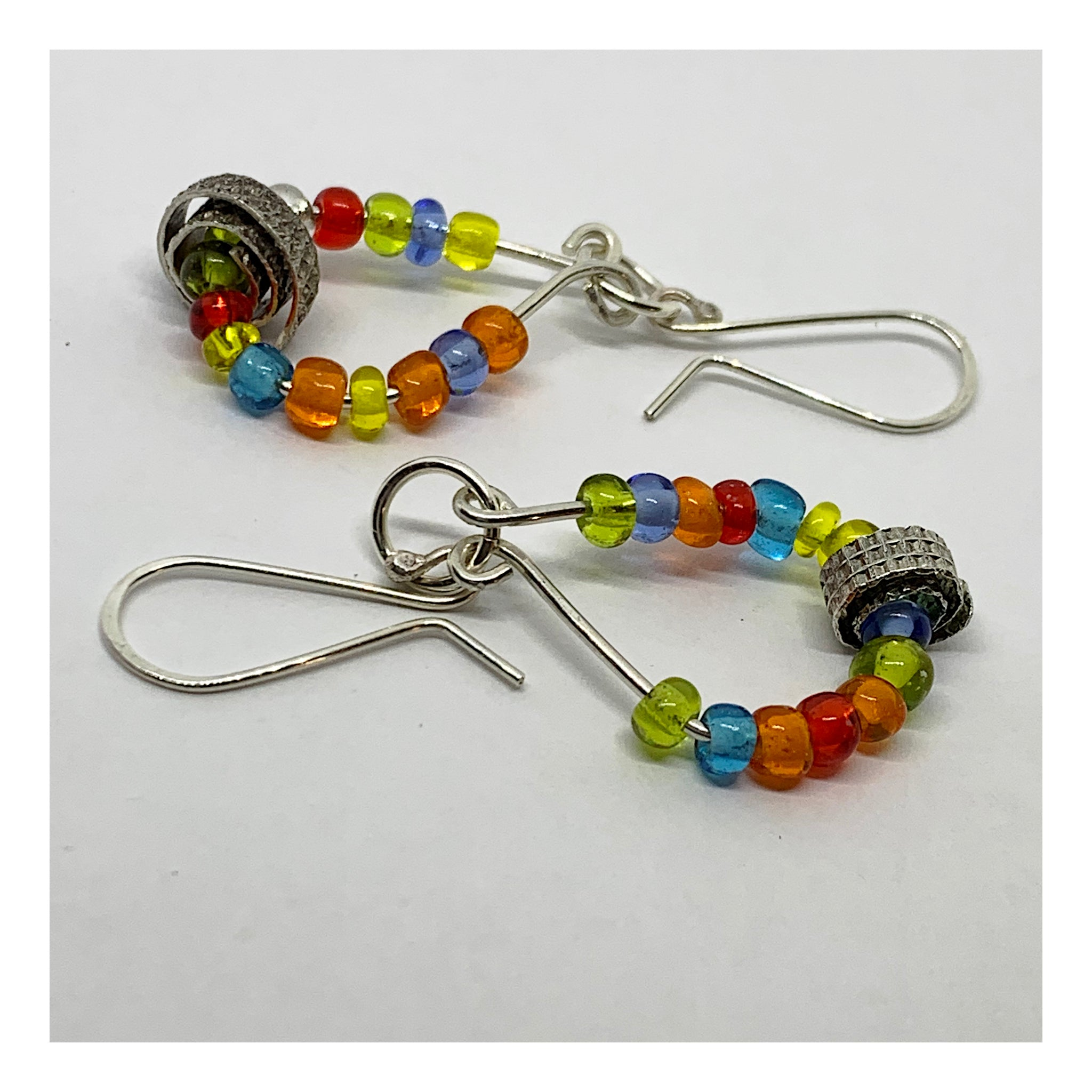 Colorful Multi Color Seed Bead Hoop Earring With Silver Accents