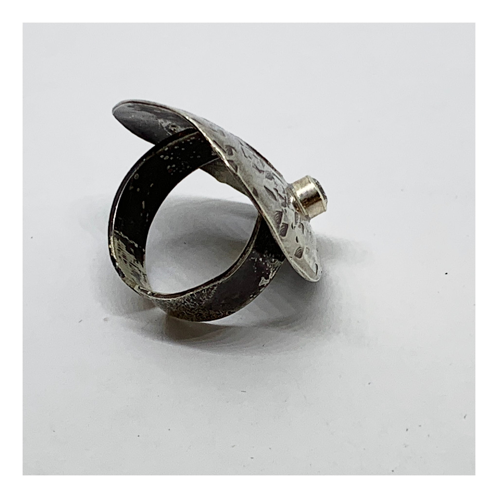 Adjustable Statement Ring With CZ - Distressed Collection - AMaryThought Wholesale